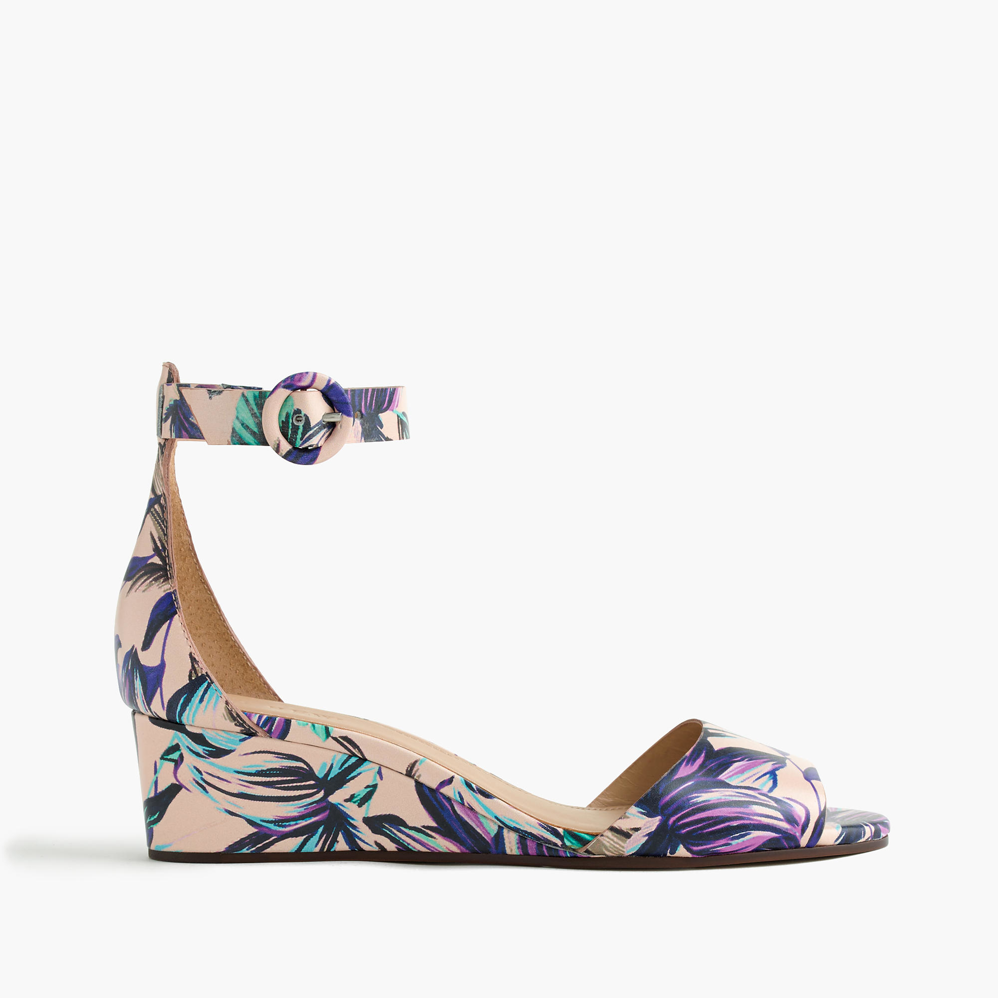 610b53998fb Lyst - J.Crew Laila Leather Wedges In Floral in Purple