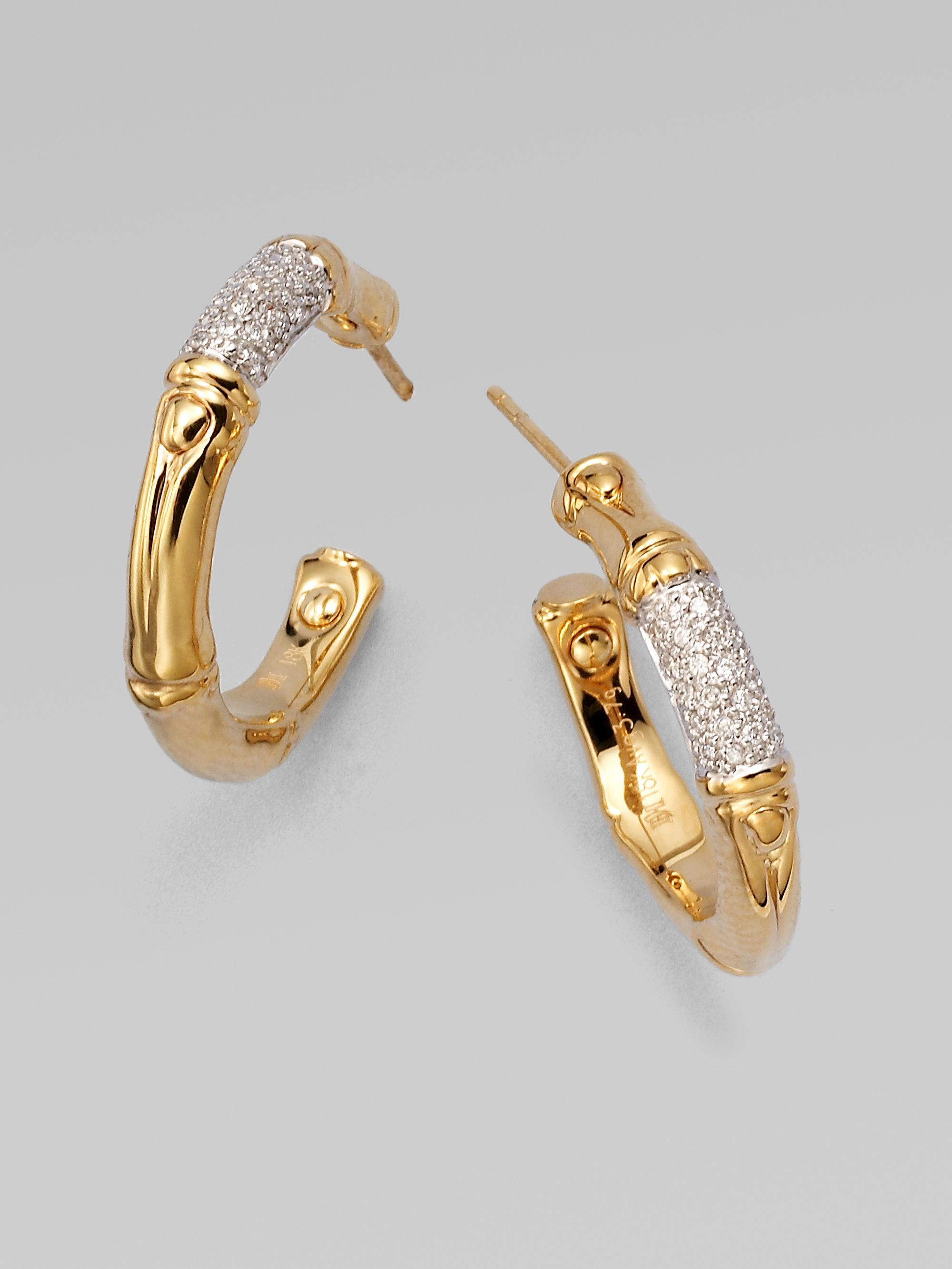 John hardy bamboo diamond 18k yellow gold hoop earrings for John hardy jewelry earrings