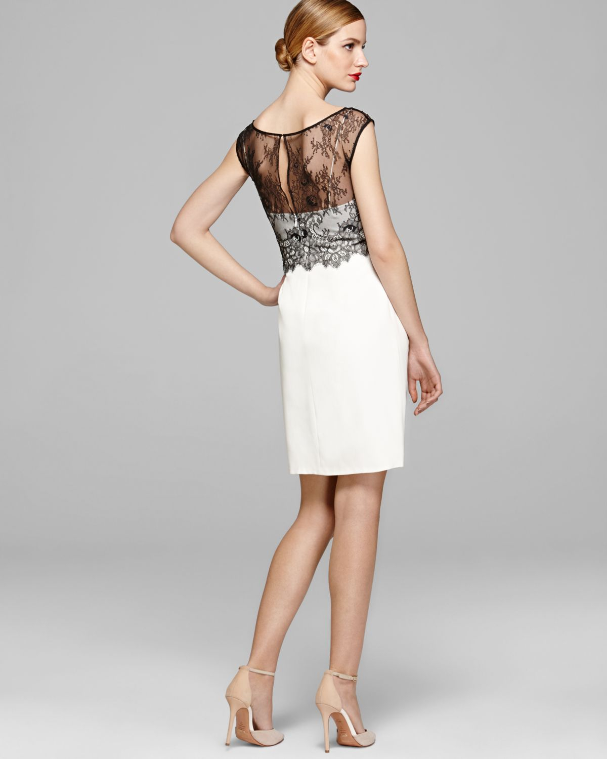 Lyst - Vera Wang Dress Color Block Lace Overlay in White