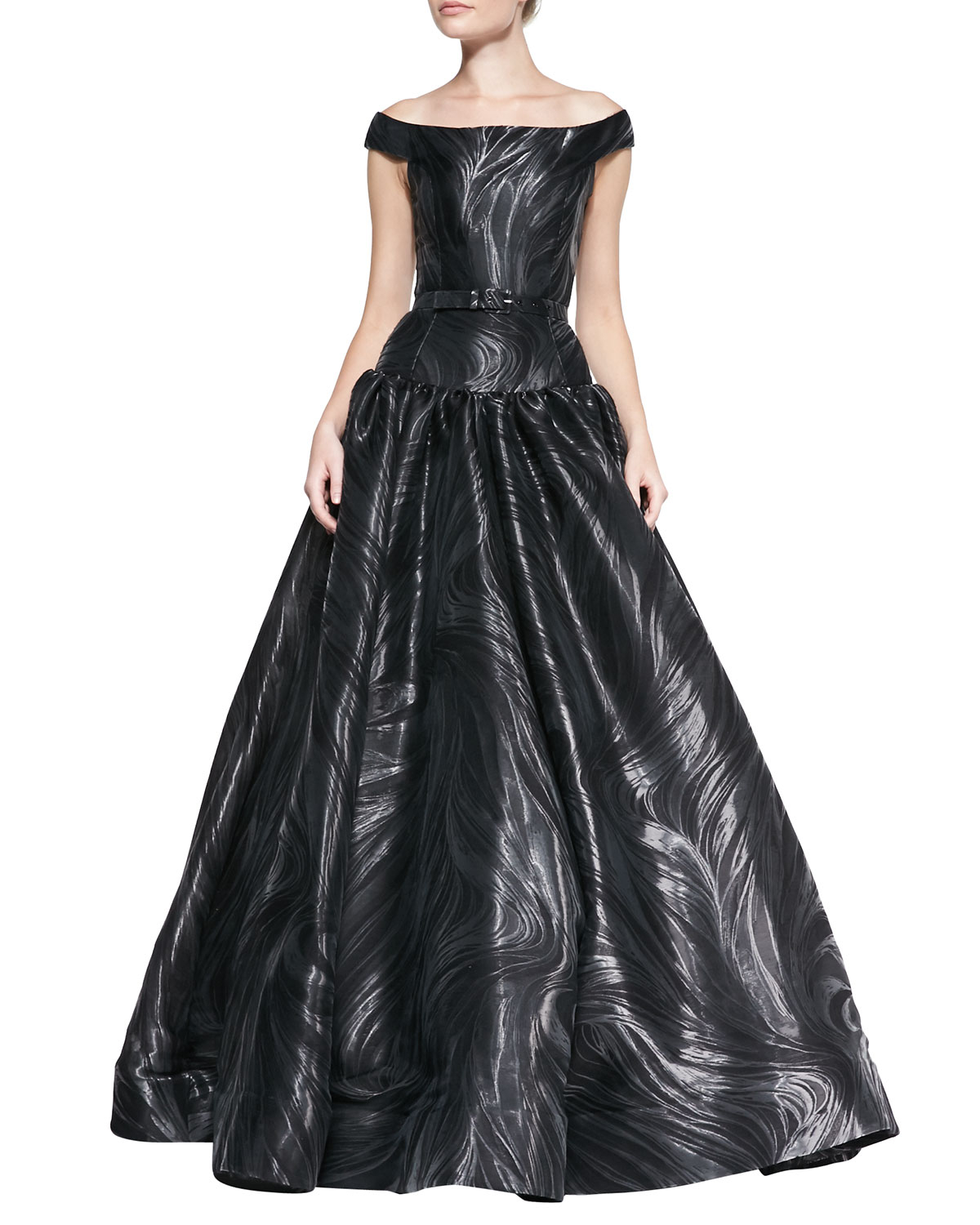 Christian Siriano Off-shoulder Belted Marble