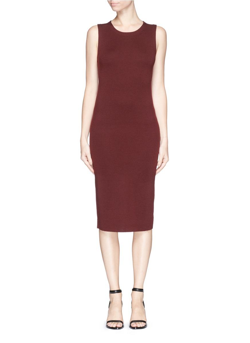Theory 'koldeen' Merino Wool Knit Dress in Red | Lyst