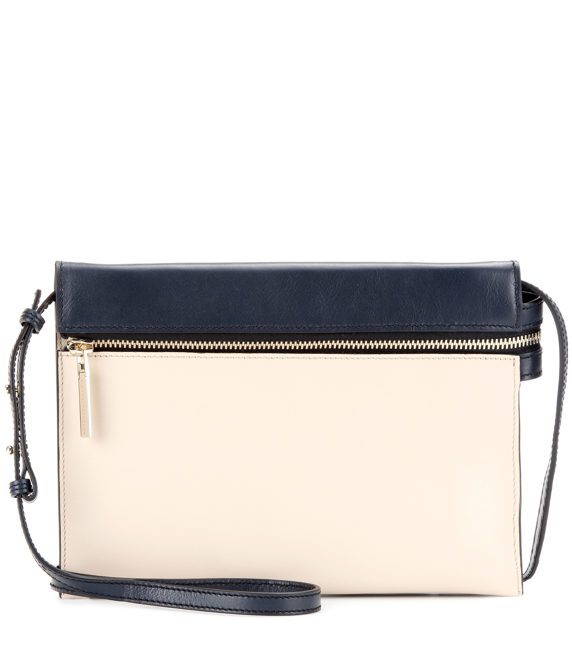 Victoria beckham Zip Two-tone Leather Shoulder Bag in White | Lyst