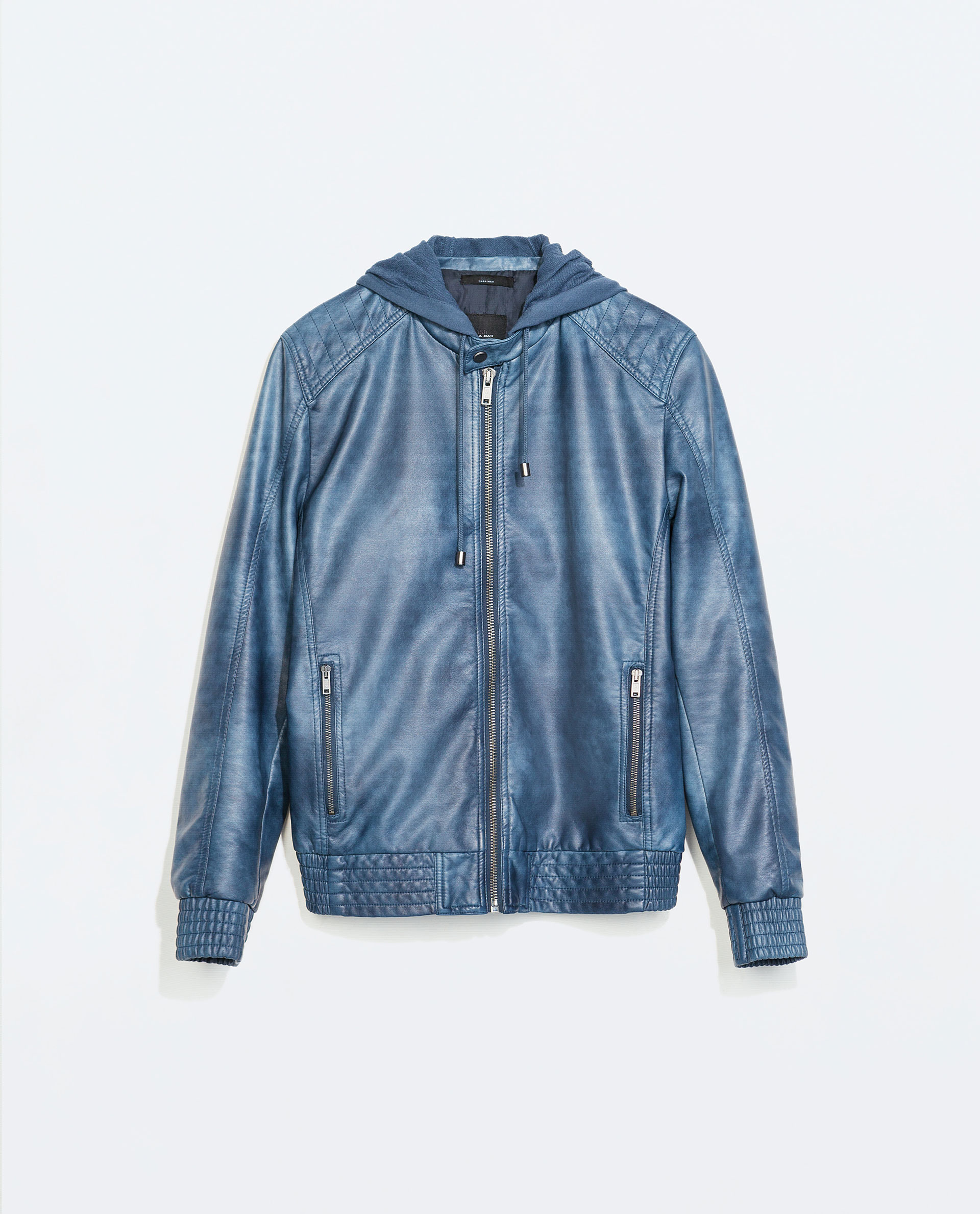 Blue Leather Jacket With Hood - Pl Jackets