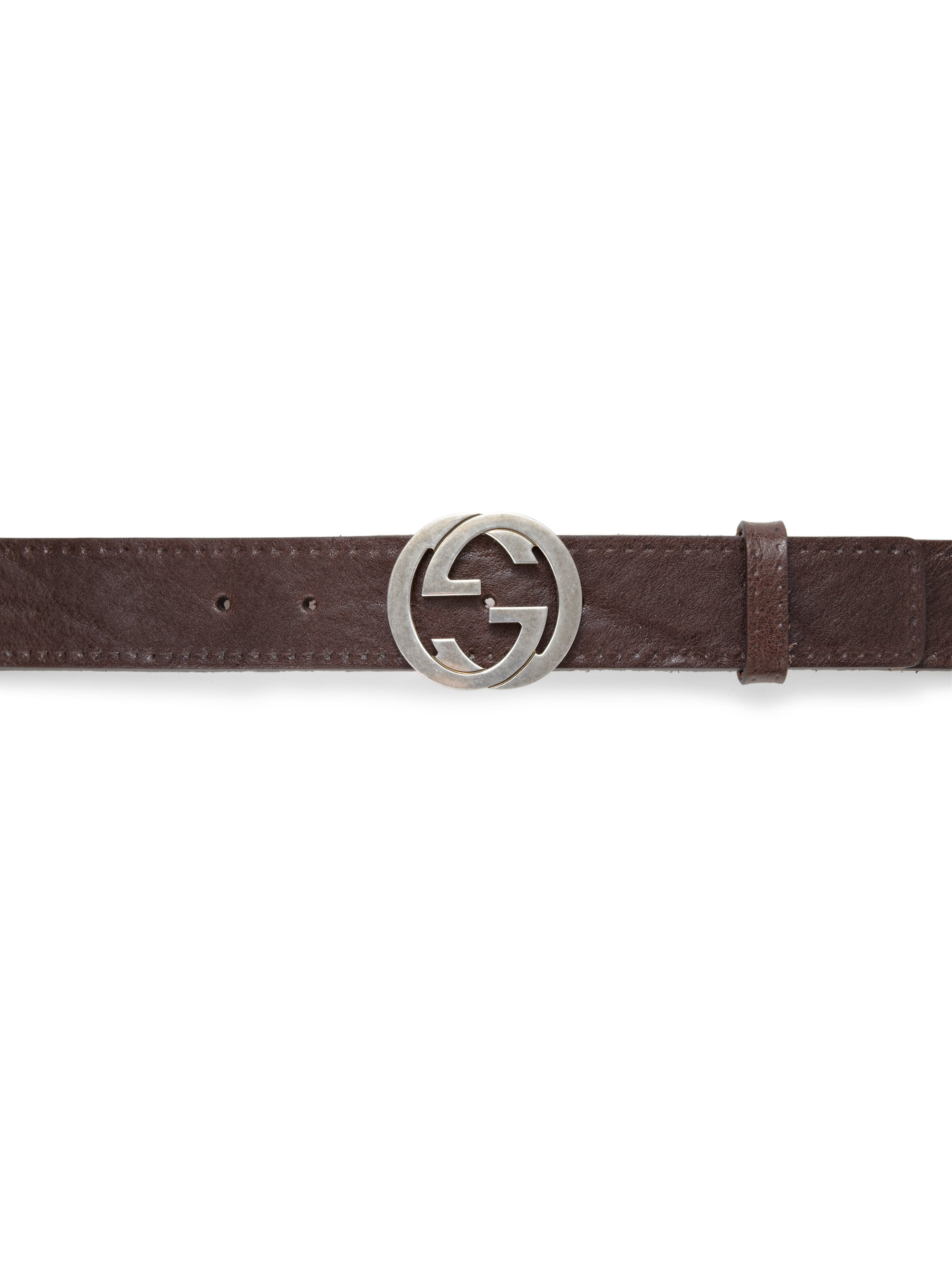 gucci interlocking g buckle leather belt in brown for