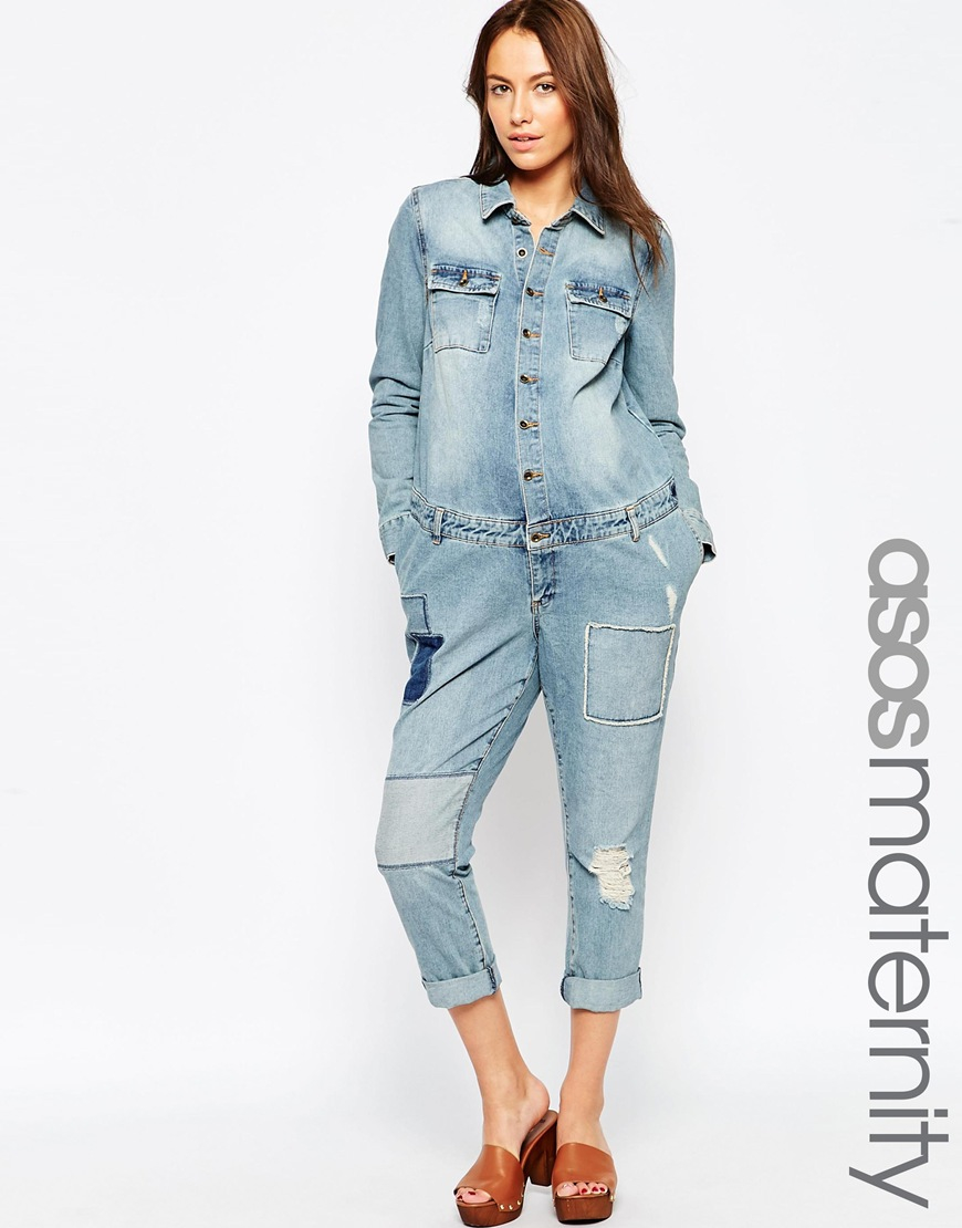 014cee9bcc Asos Design Denim White Zip Front Jumpsuit