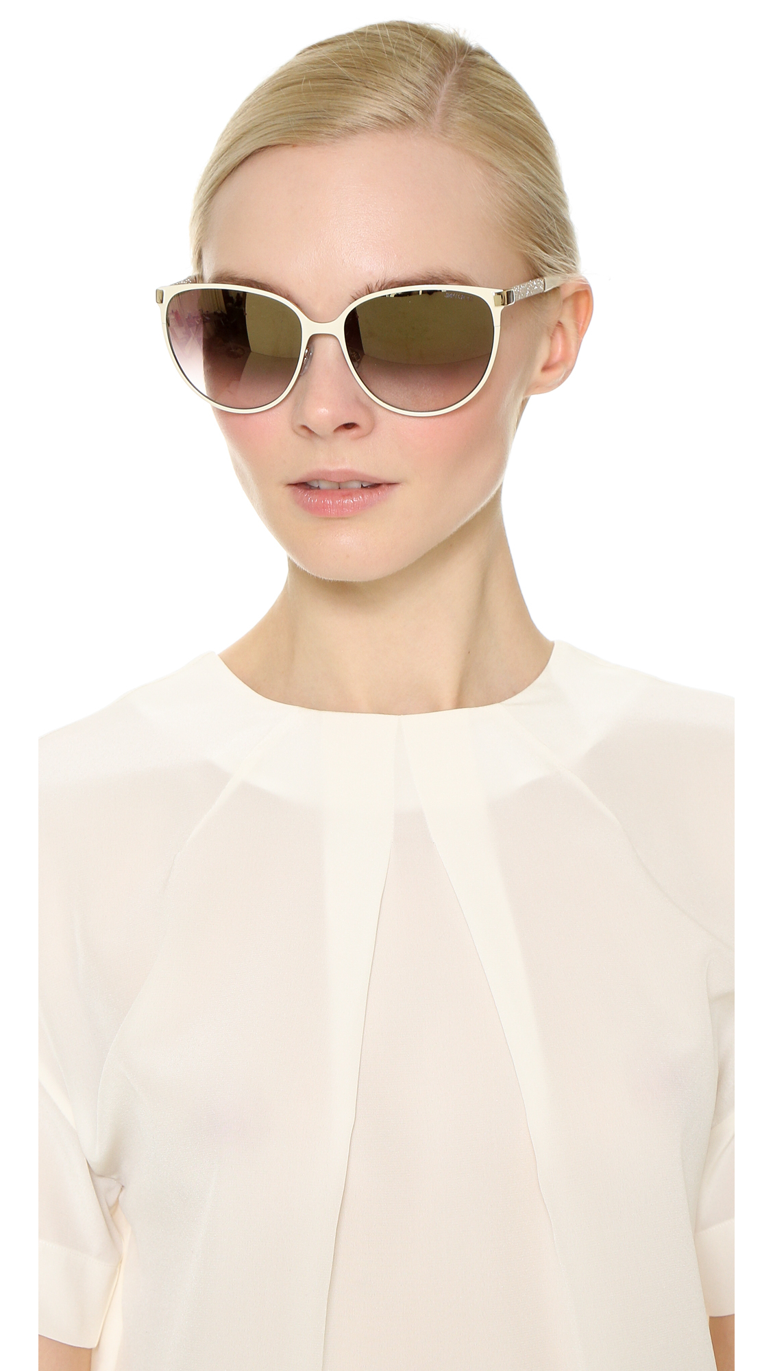 5dc238cdcf64 Lyst - Jimmy Choo Posie Sunglasses - Ivory brown in White