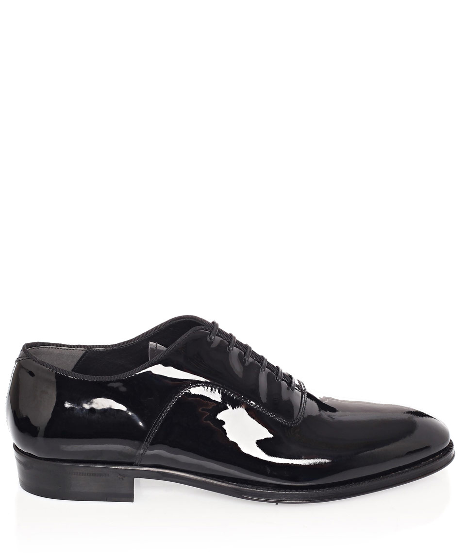 mcqueen black patent leather oxford shoes in