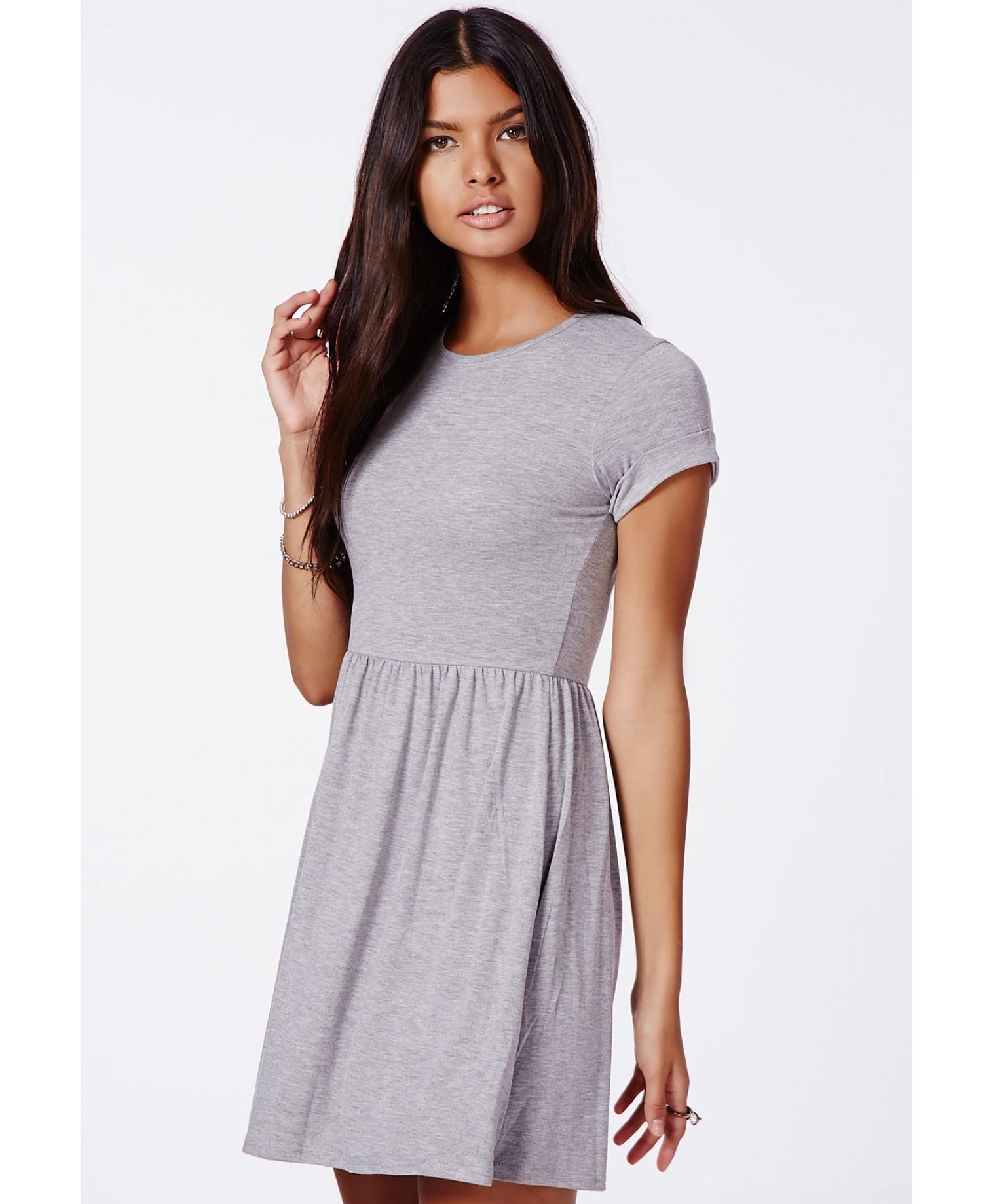 f61fa75ee19e Missguided Aliveta T-Shirt Skater Dress in Gray - Lyst