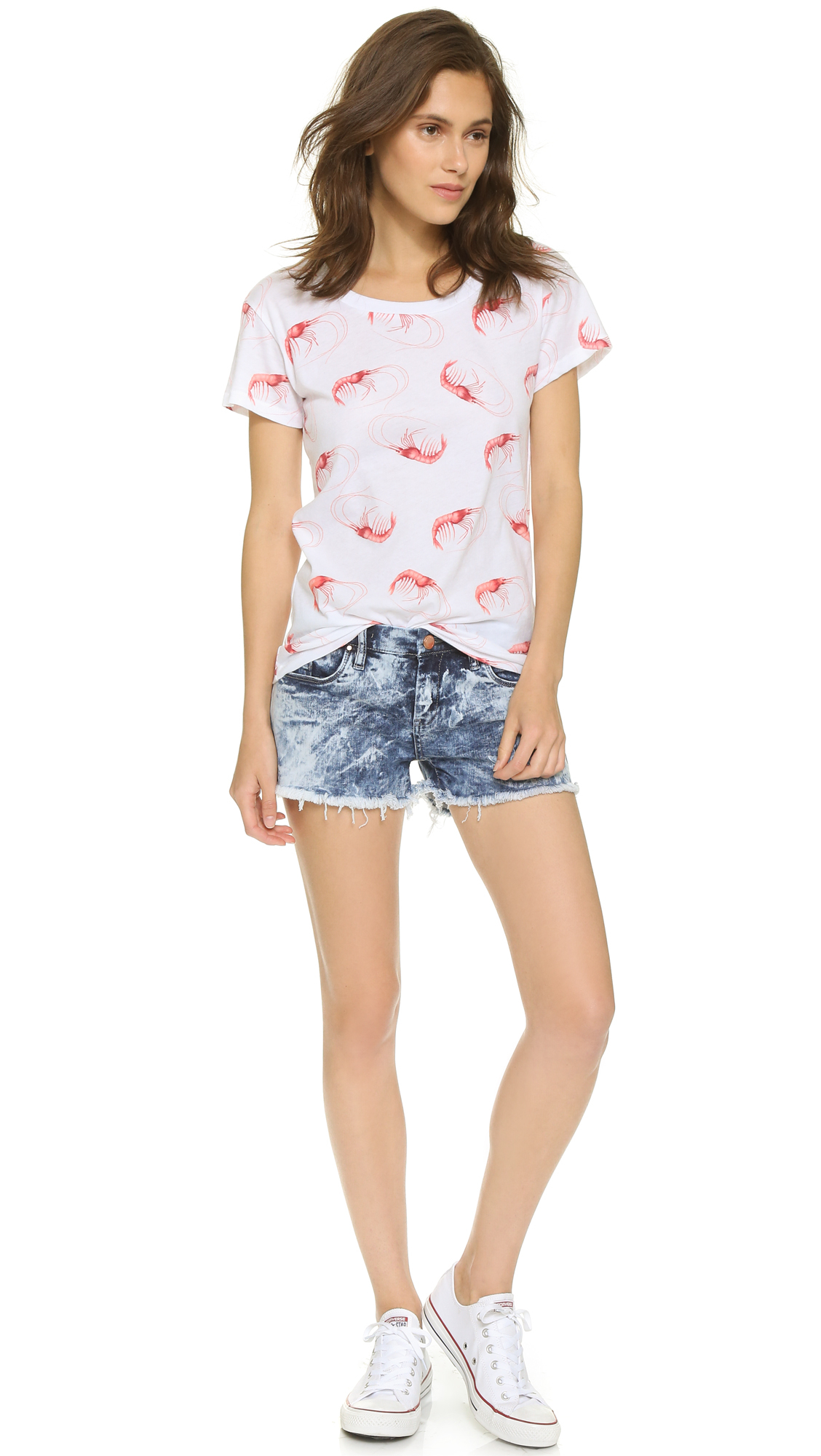 Lyst wildfox shrimpy easy tee clean white in red for How to clean white dress shirts
