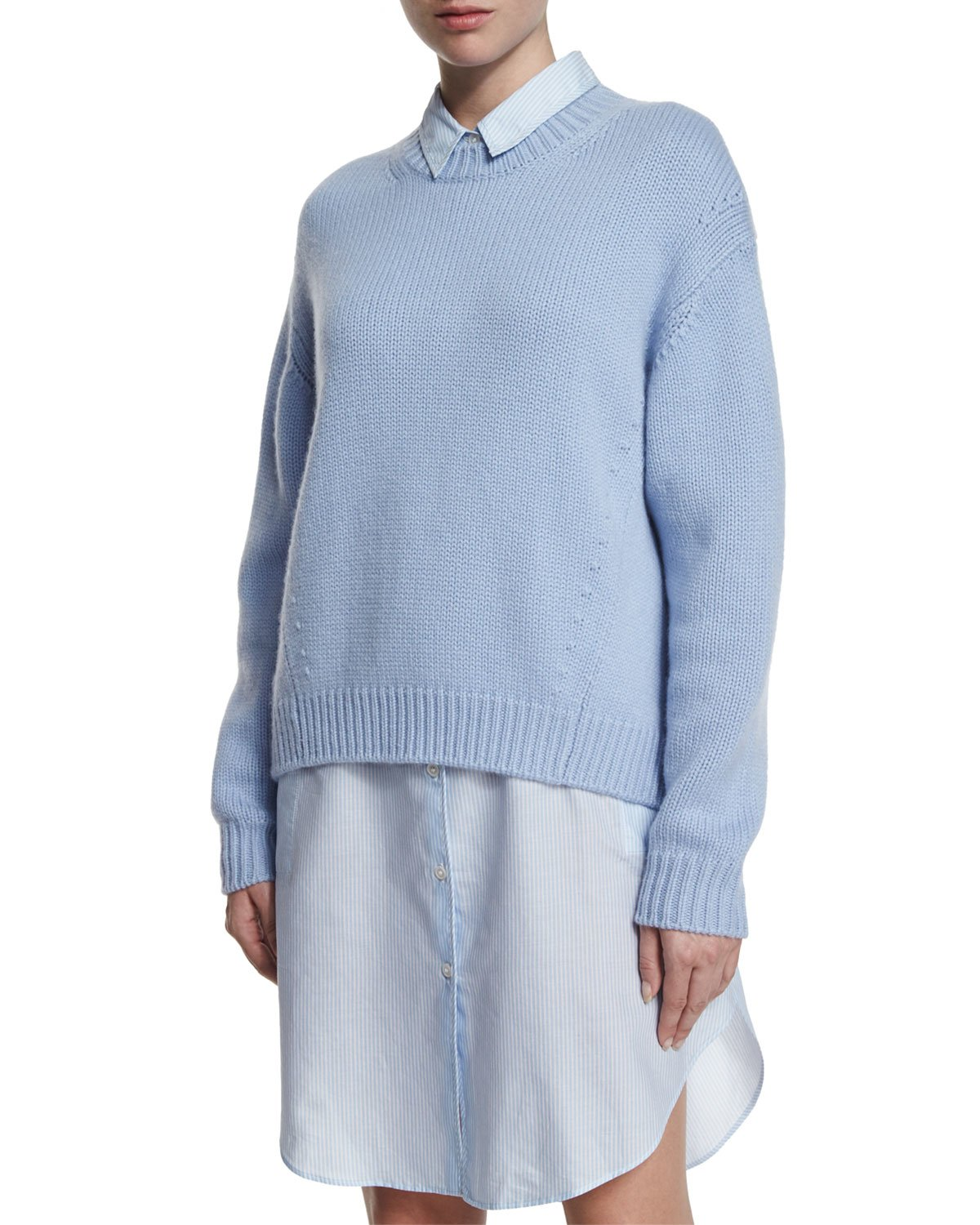 Acne studios Oversized Plush Ribbed Sweater in Blue | Lyst