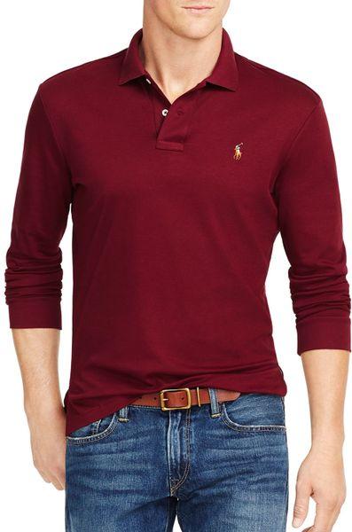 Ralph lauren polo long sleeved pima soft touch polo shirt for Long sleeve purple polo shirt