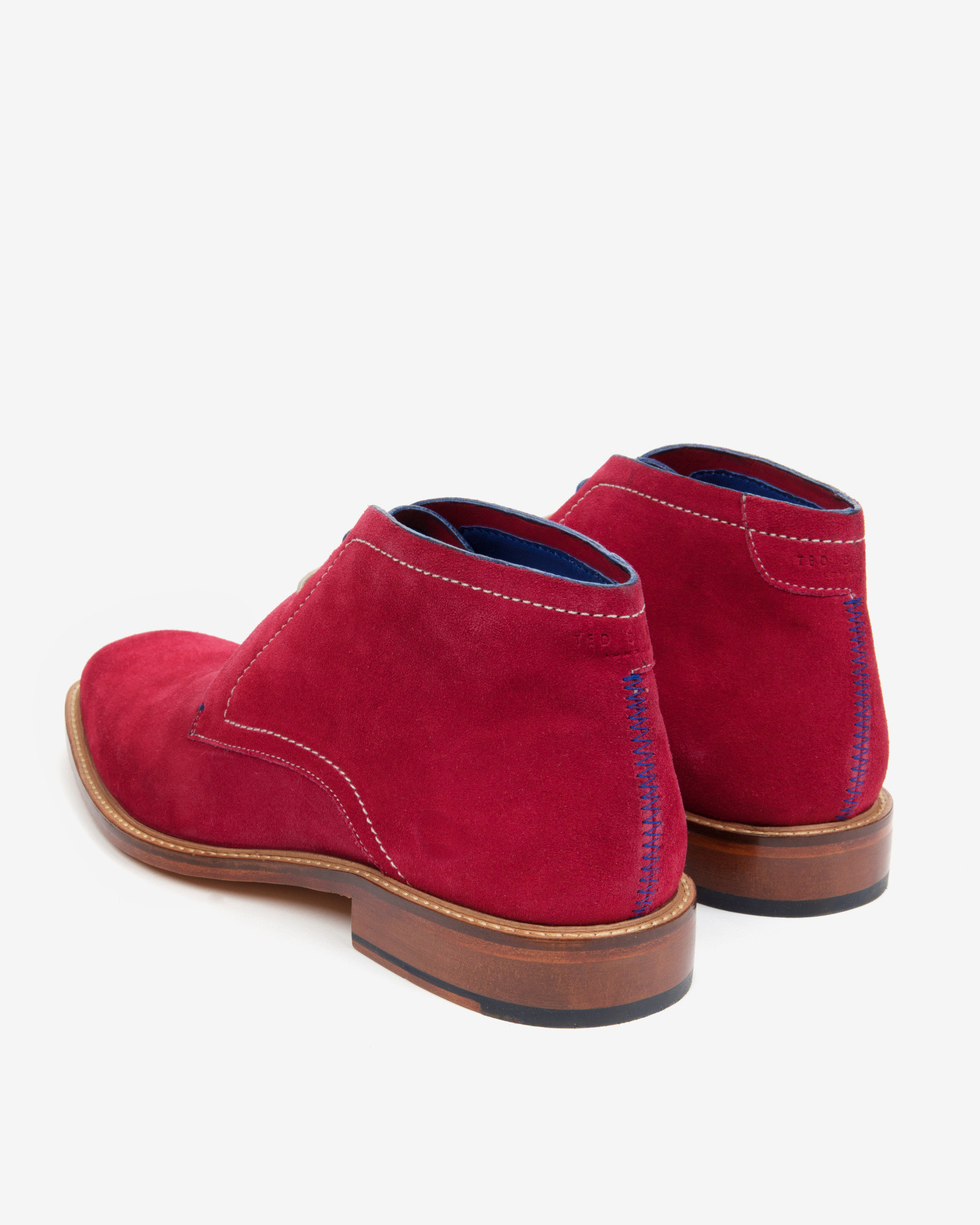 ted baker suede derby chukka boots in pink for