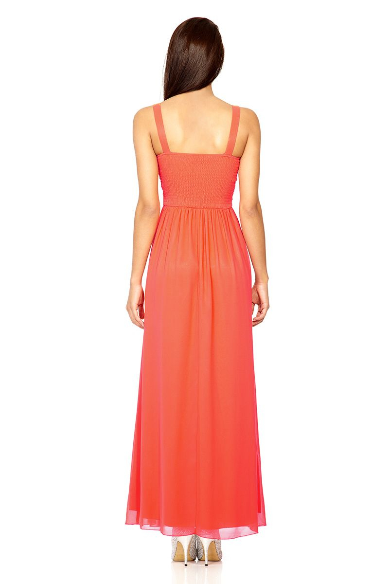 Lyst Quiz Mesh Maxi Dress In Orange