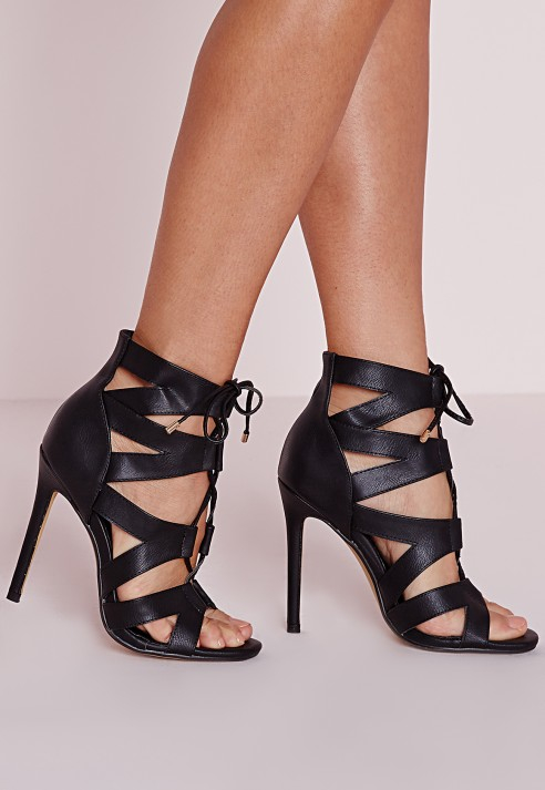Missguided Cut Out Lace Up Gladiator Heels Black in Black | Lyst
