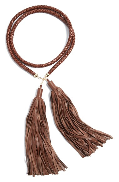 rosetta getty nappa leather tassel belt in brown lyst