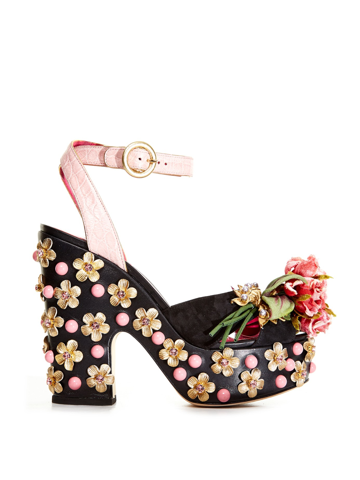 730102deb4e Dolce   Gabbana Rose Embellished Platform Sandals in Black - Lyst