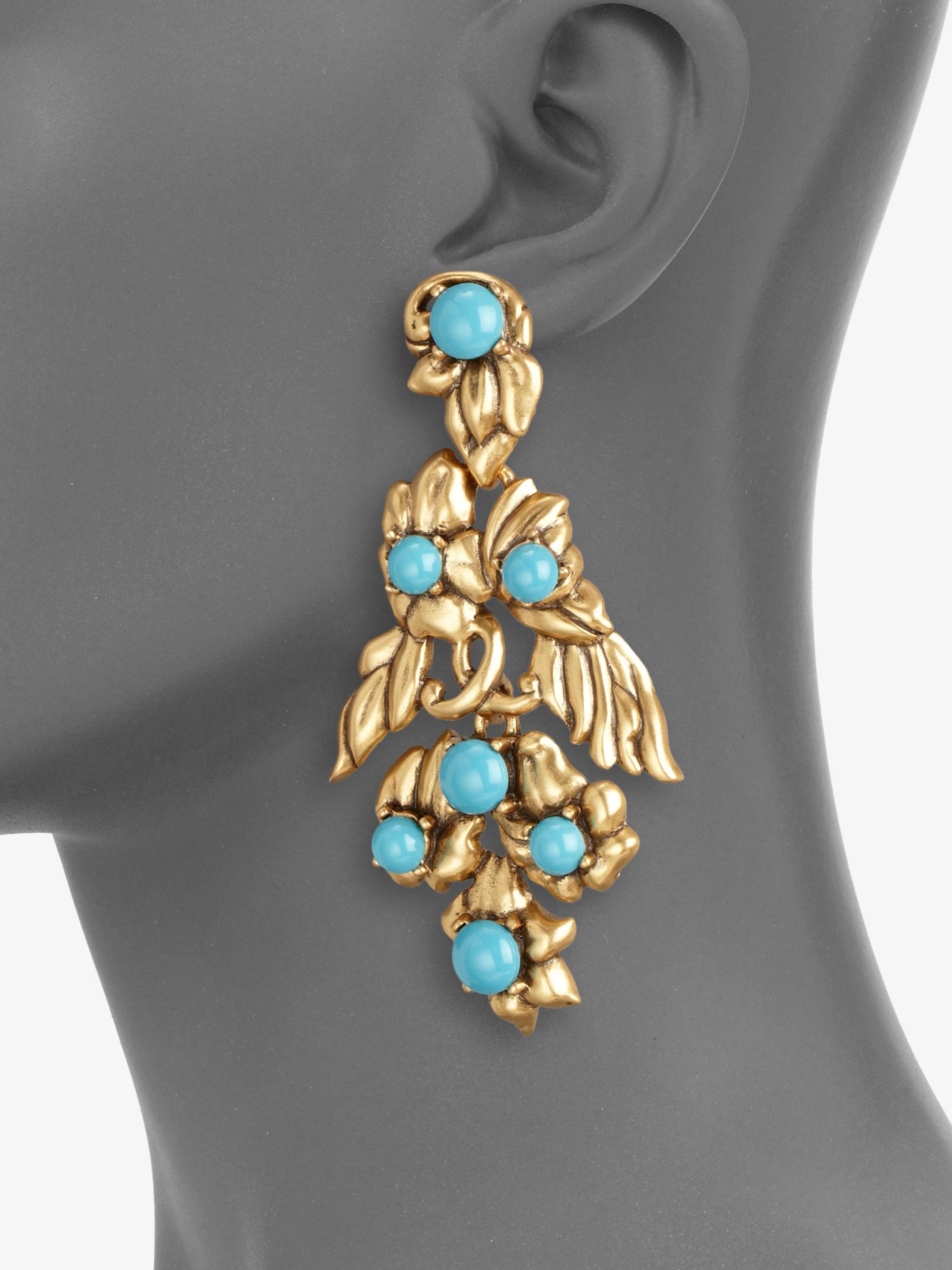 Oscar De La Renta Falling Flower Cluster Clip Earrings IAwVS0Bp