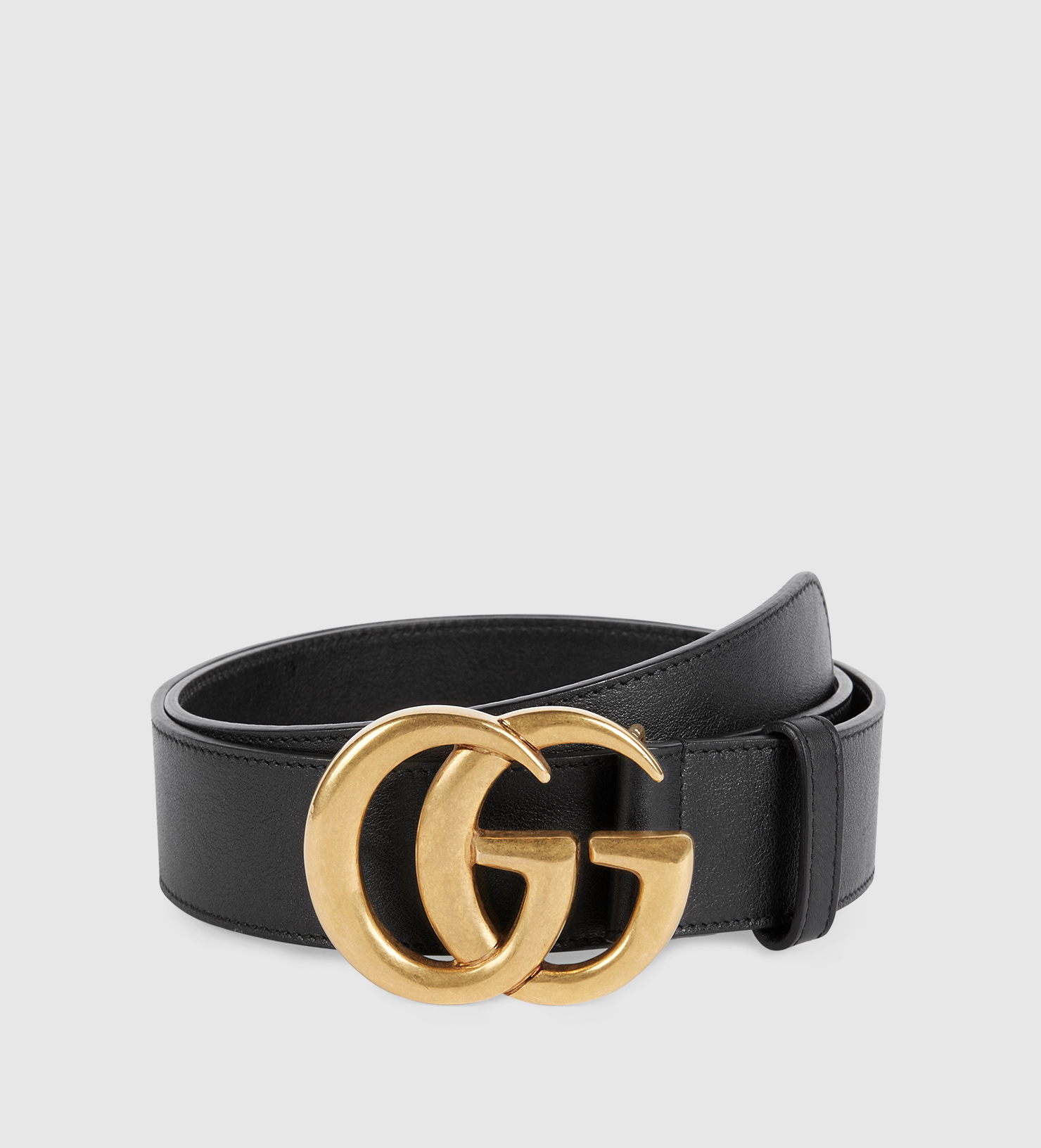 bdf7edfcd603c Lyst - Gucci Leather Belt With Double G Buckle in Black for Men