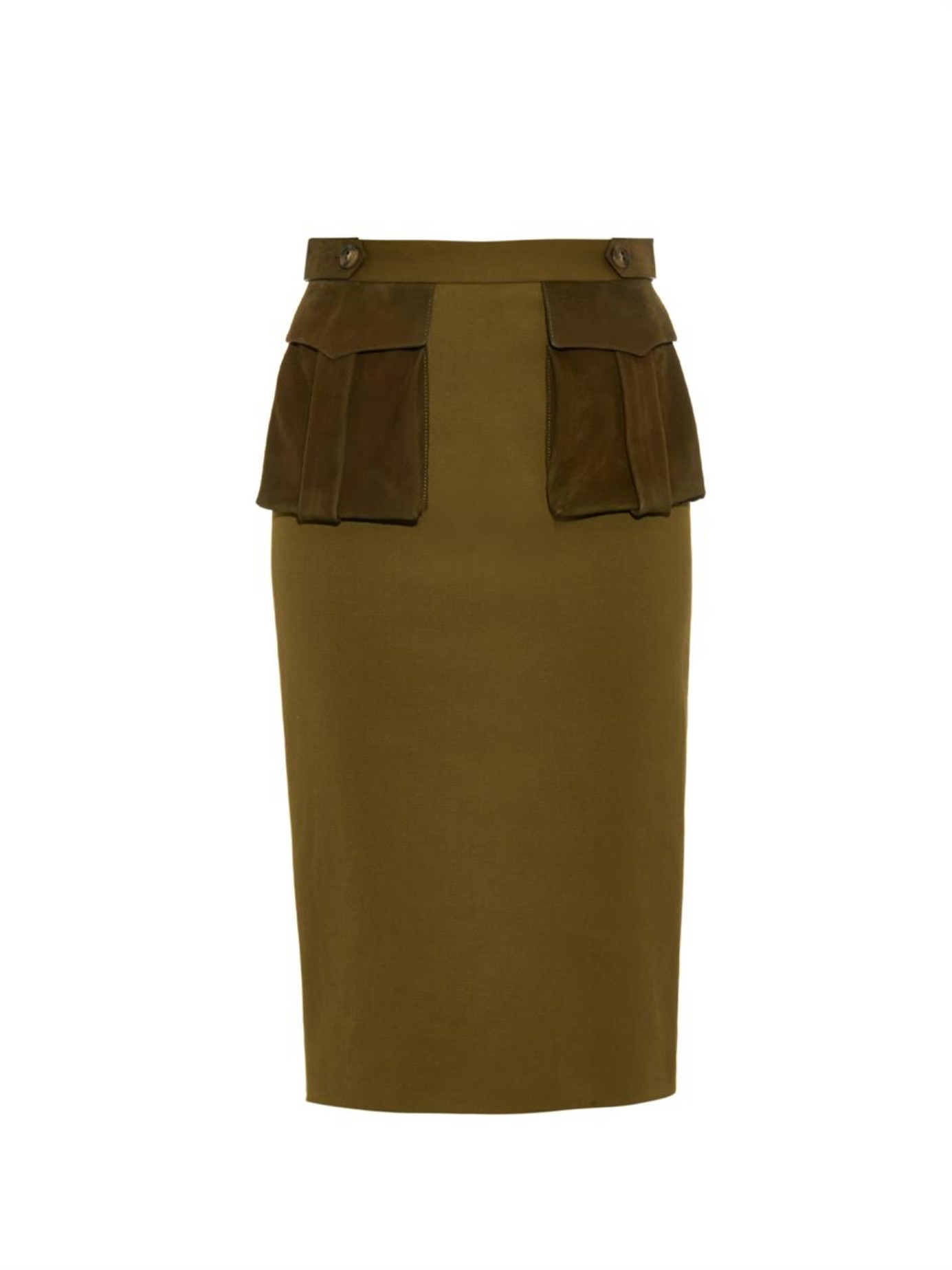 Burberry prorsum Nubuck-Pocket Drill Pencil Skirt in Natural | Lyst