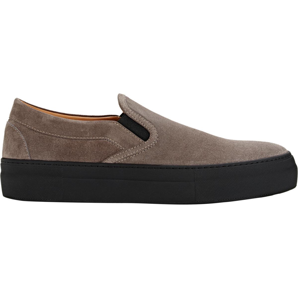 barneys new york suede slip on platform sneakers in gray