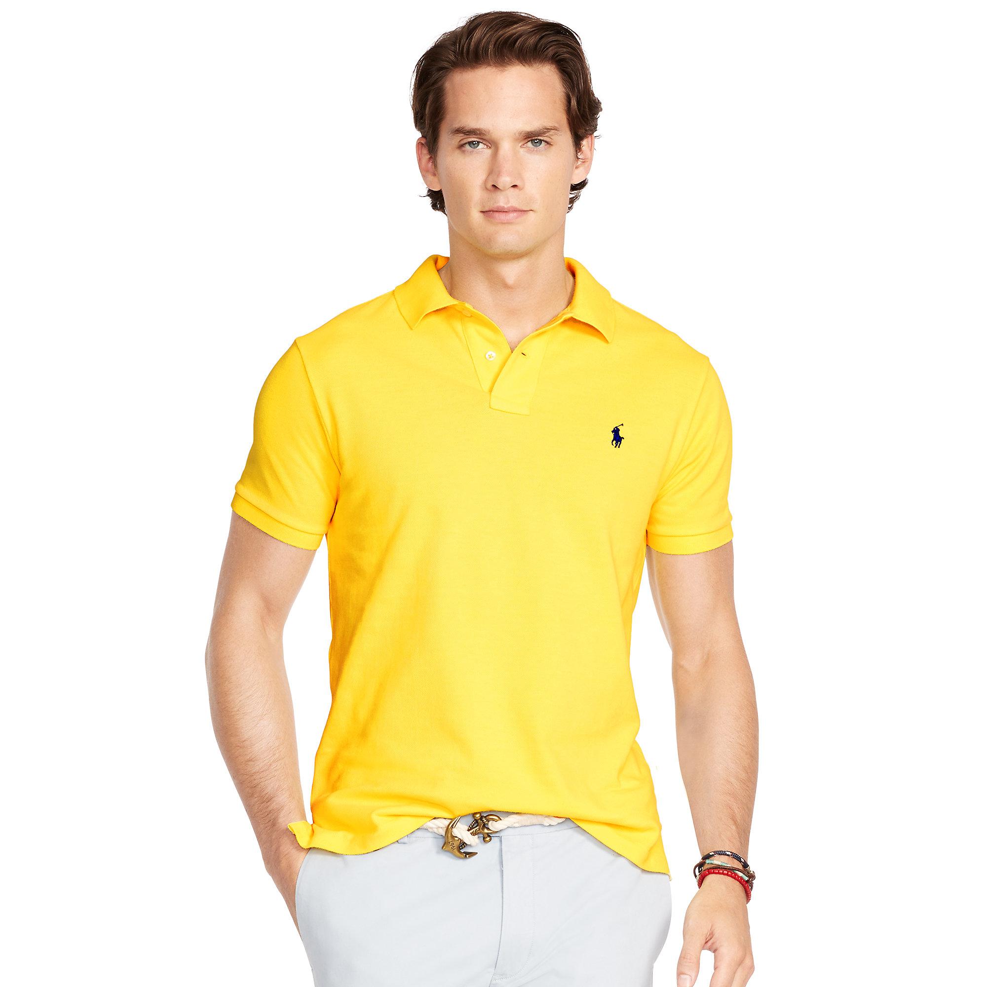 ed1cae4b7d12f ... australia lyst polo ralph lauren slim fit mesh polo shirt in yellow for  men 3d589 f8432