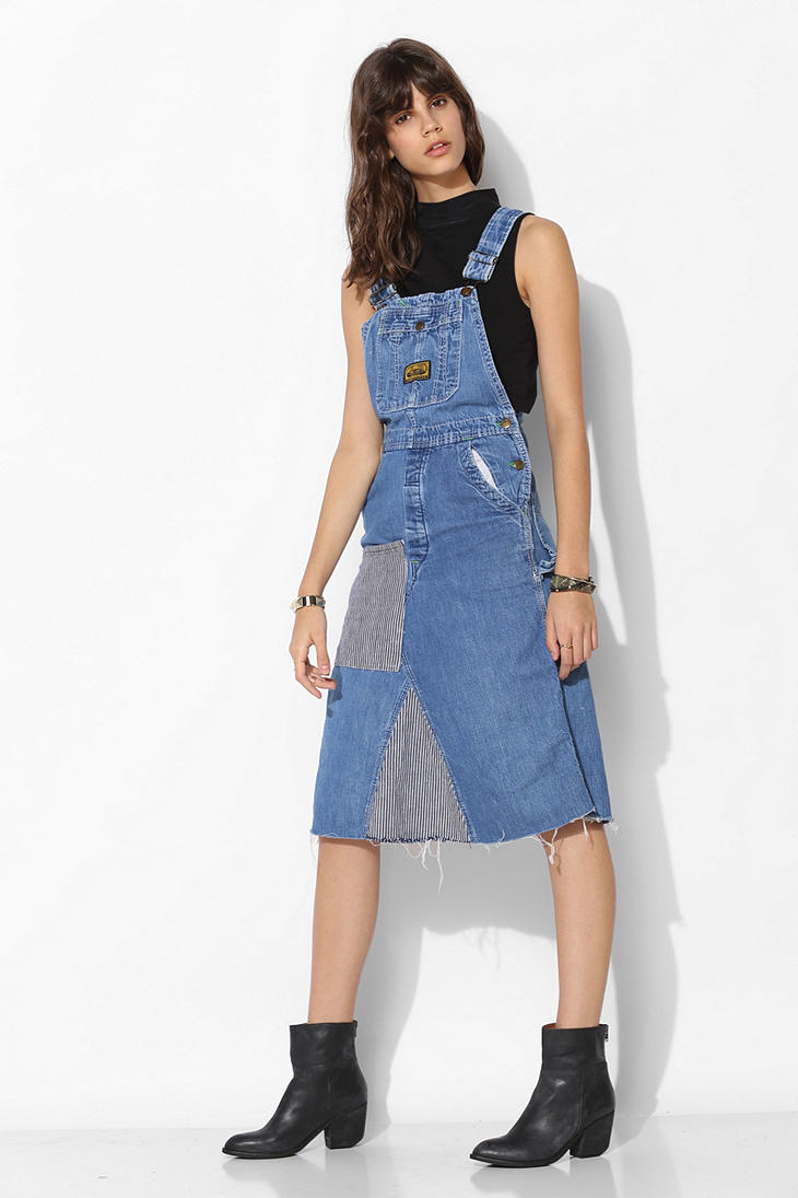 Urban outfitters urban renewal patched overall dress in blue indigo lyst - Avis urban dressing ...