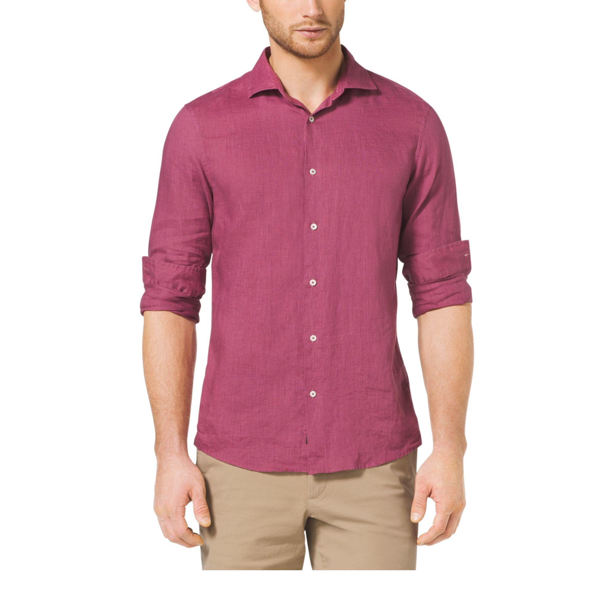 Michael kors Slim-fit Linen Shirt in Pink for Men   Lyst