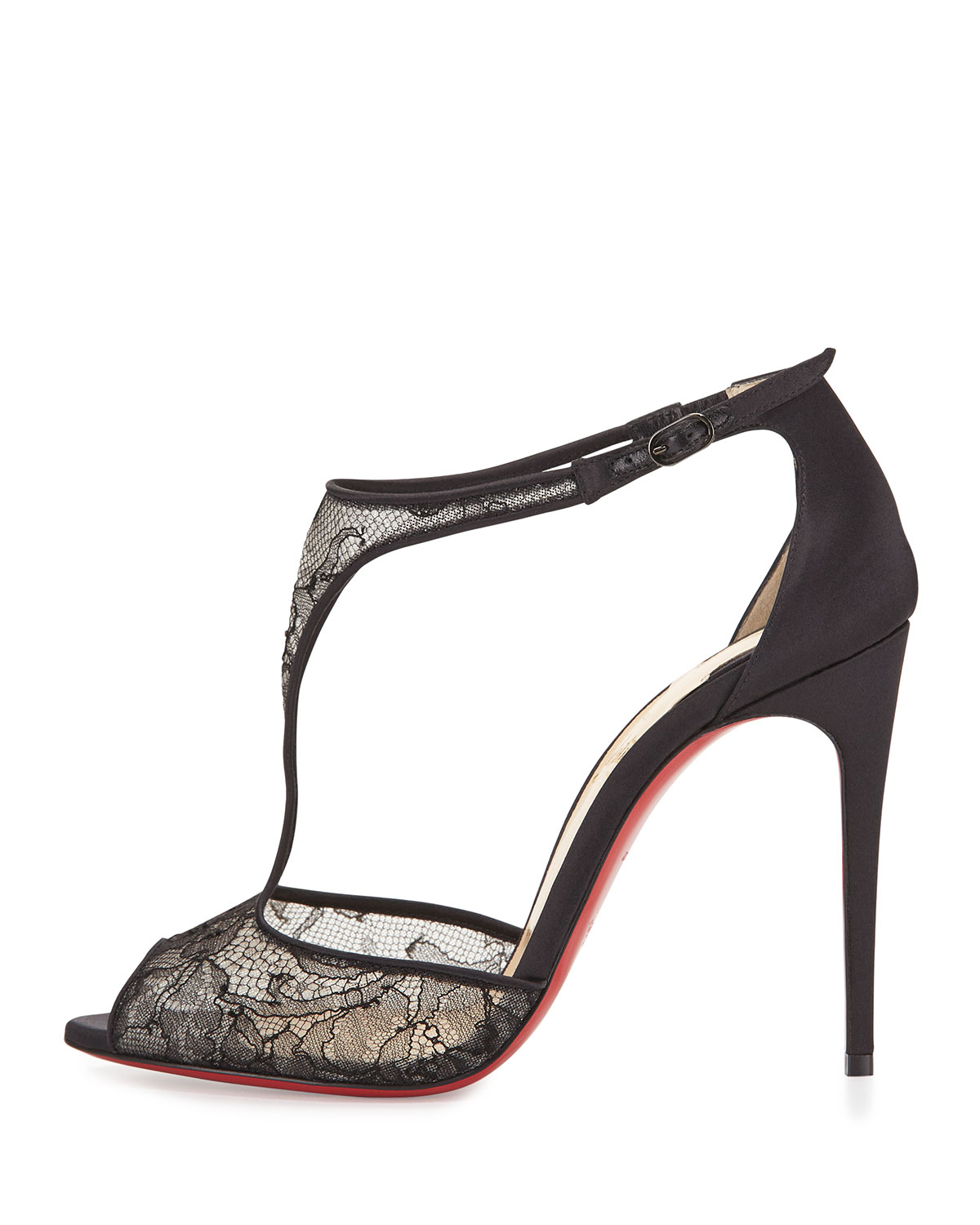 e396312a49b7 ... greece lyst christian louboutin tiny lace red sole t strap sandal in  black 39cc4 28ec1