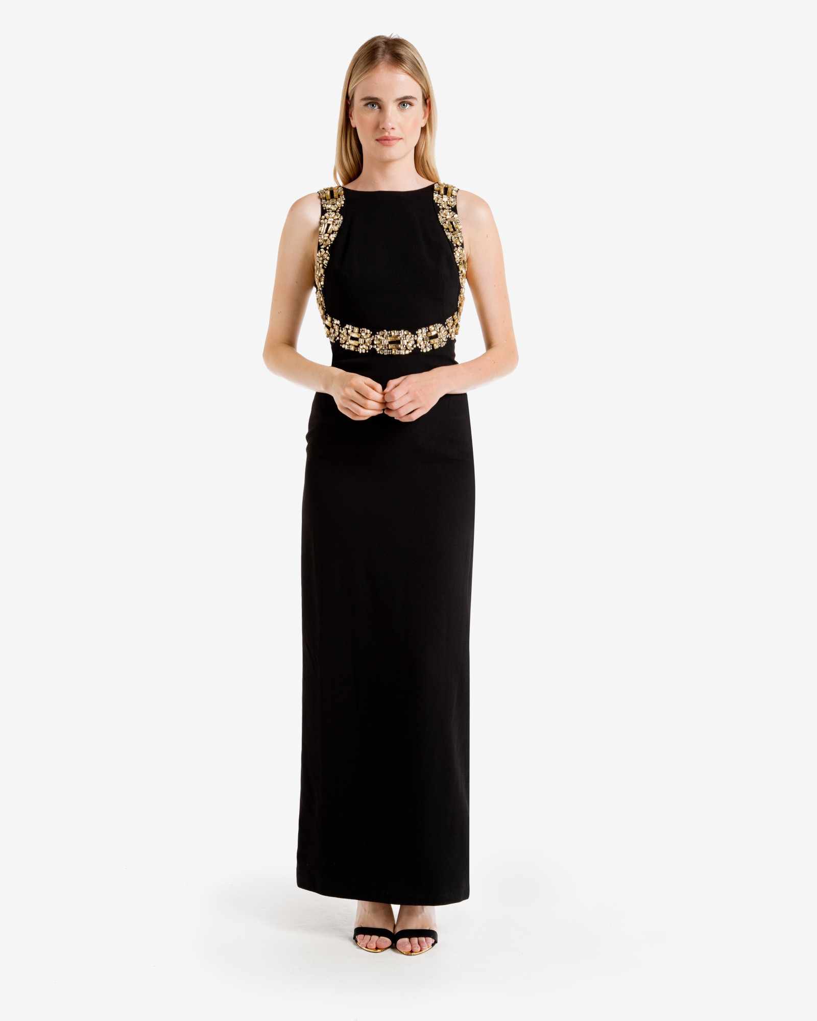 Lyst - Ted baker Embellished Open Back Maxi Dress in Black