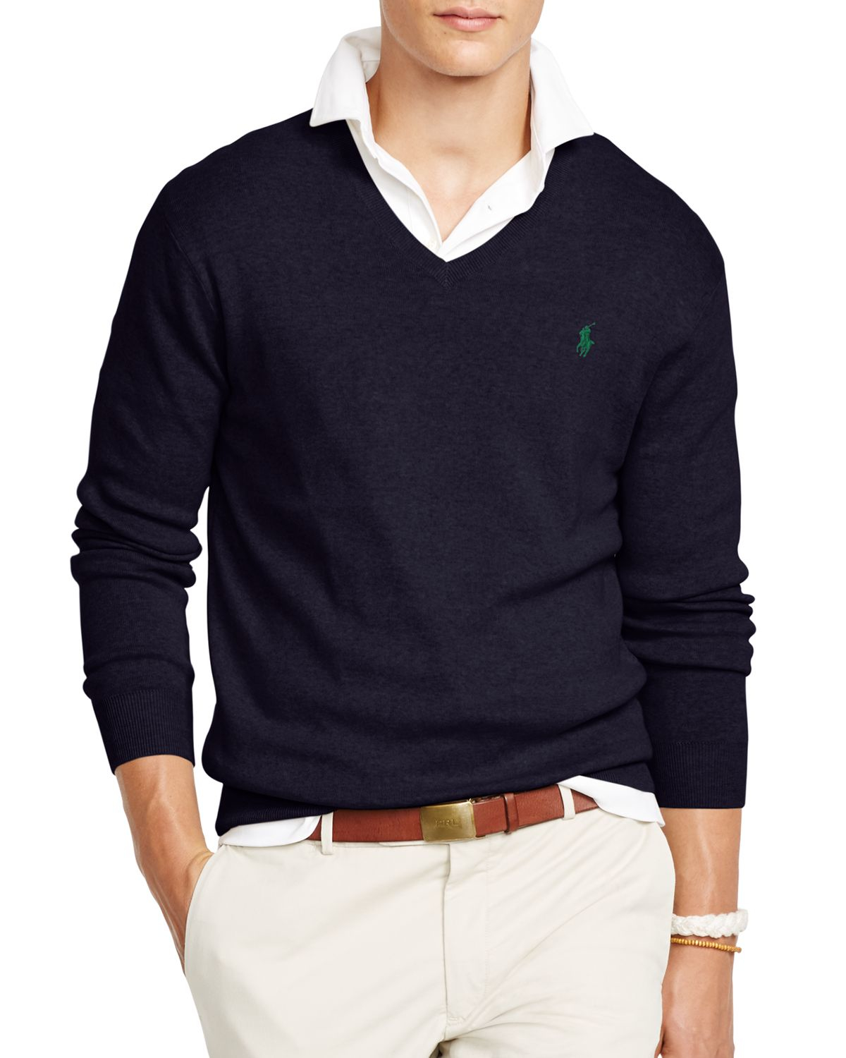 Polo Ralph Lauren | Blue Pima V-neck Sweater for Men | Lyst. View Fullscreen