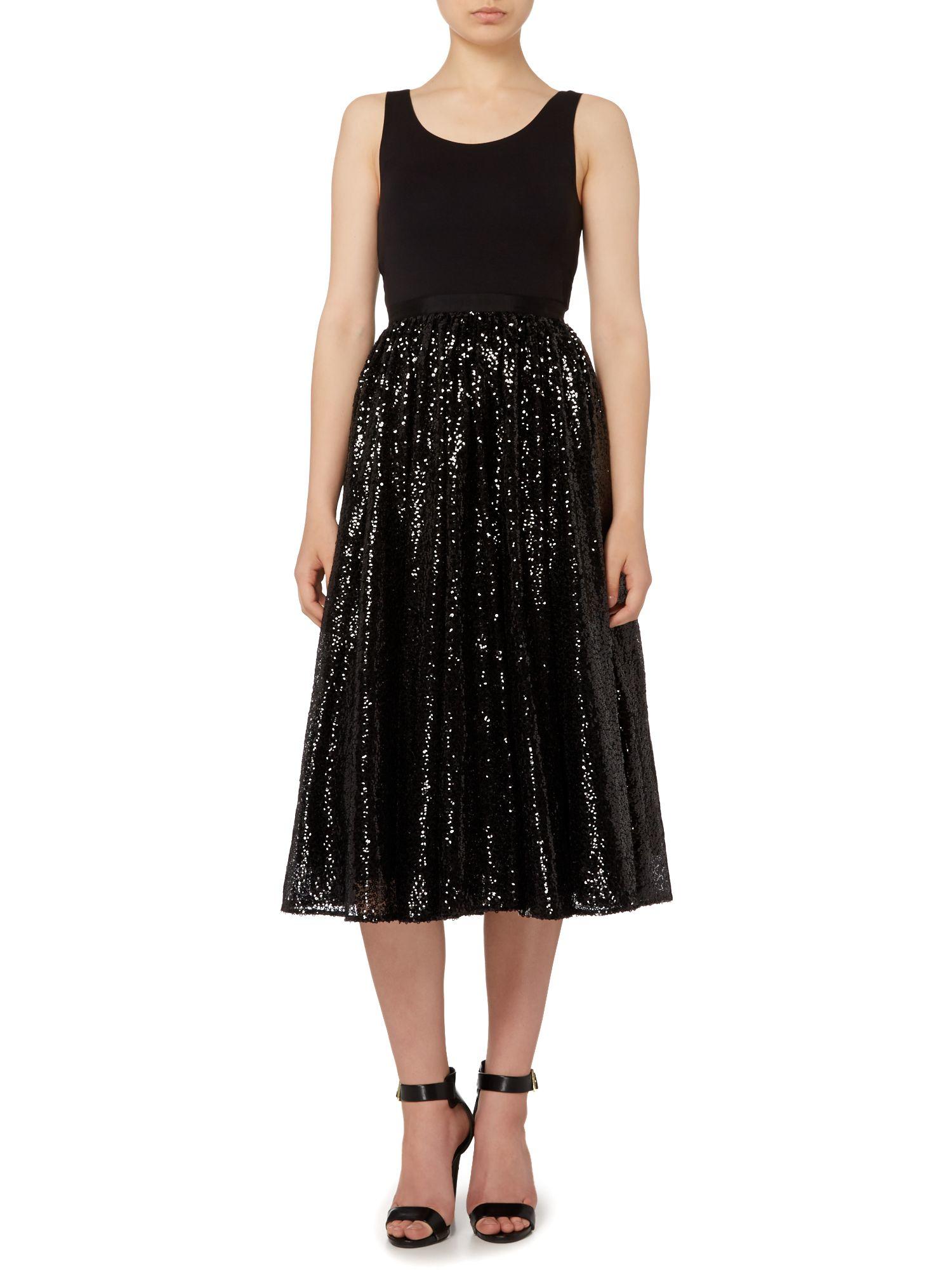 michael kors sequin midi skirt in black lyst