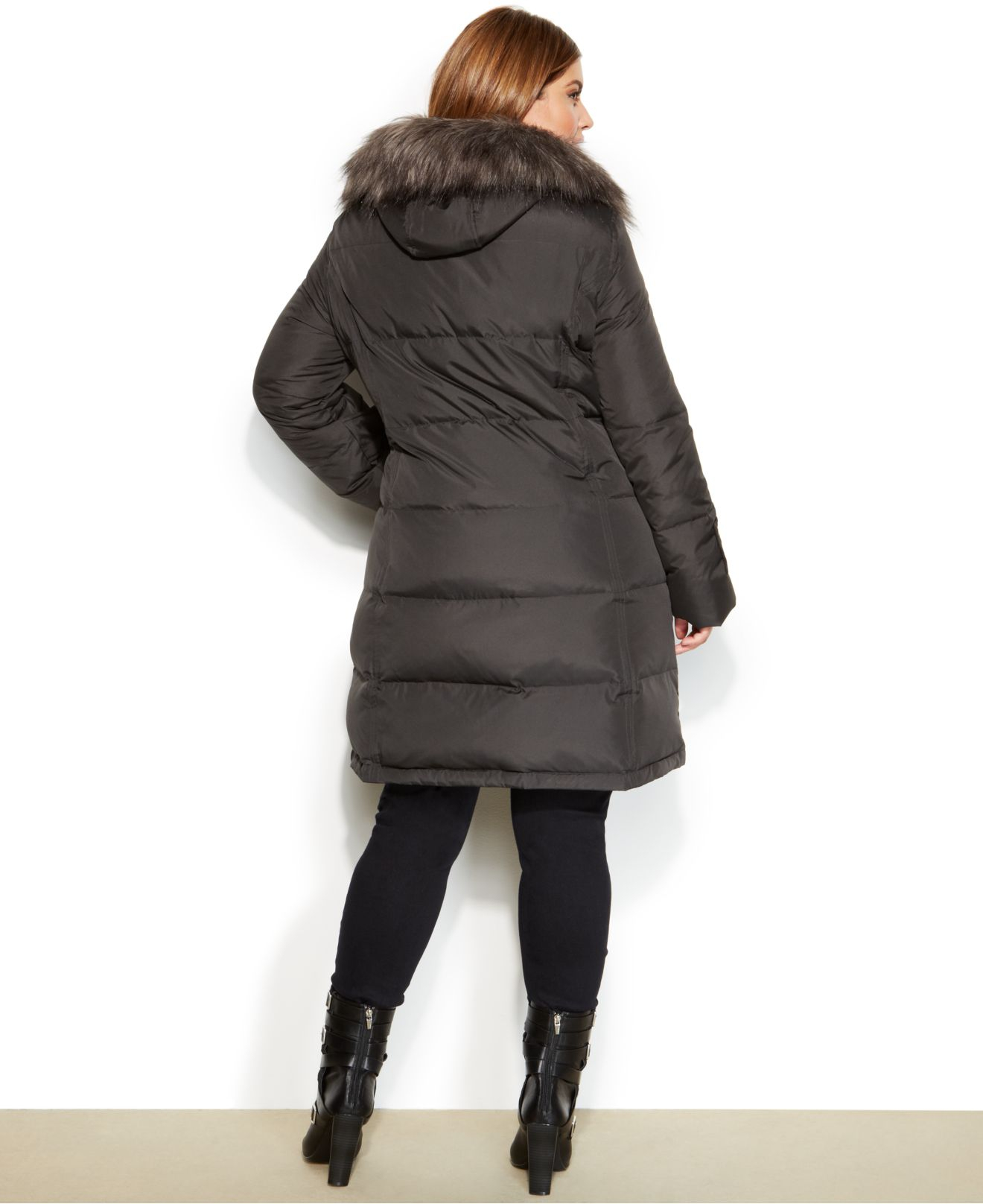 Lyst Calvin Klein Plus Size Hooded Faux Fur Trim Quilted