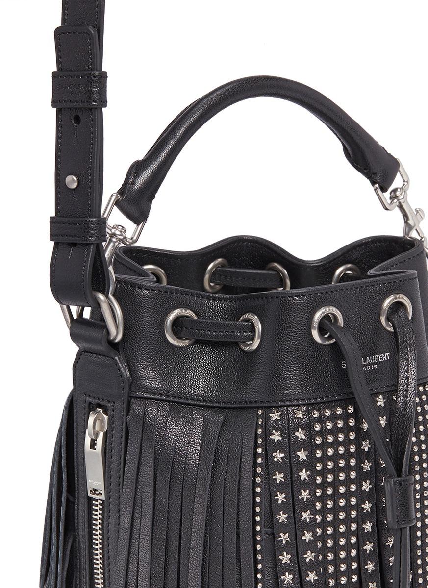 4bab247527 Lyst - Saint Laurent  emmanuelle  Small Stud Fringe Leather Bucket Bag in  Black