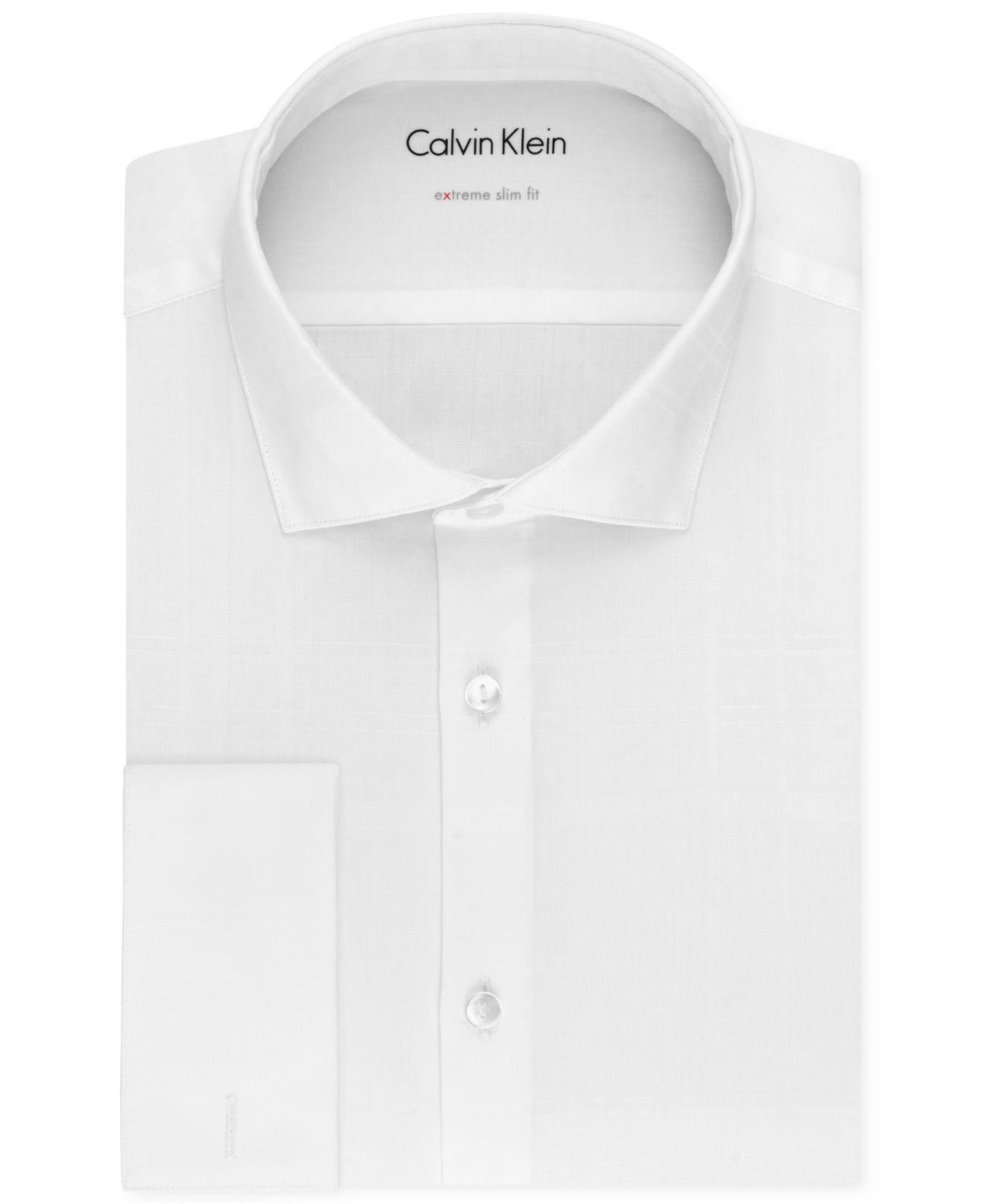 Calvin klein x men 39 s extra slim fit french cuff tuxedo for Extra slim tuxedo shirt