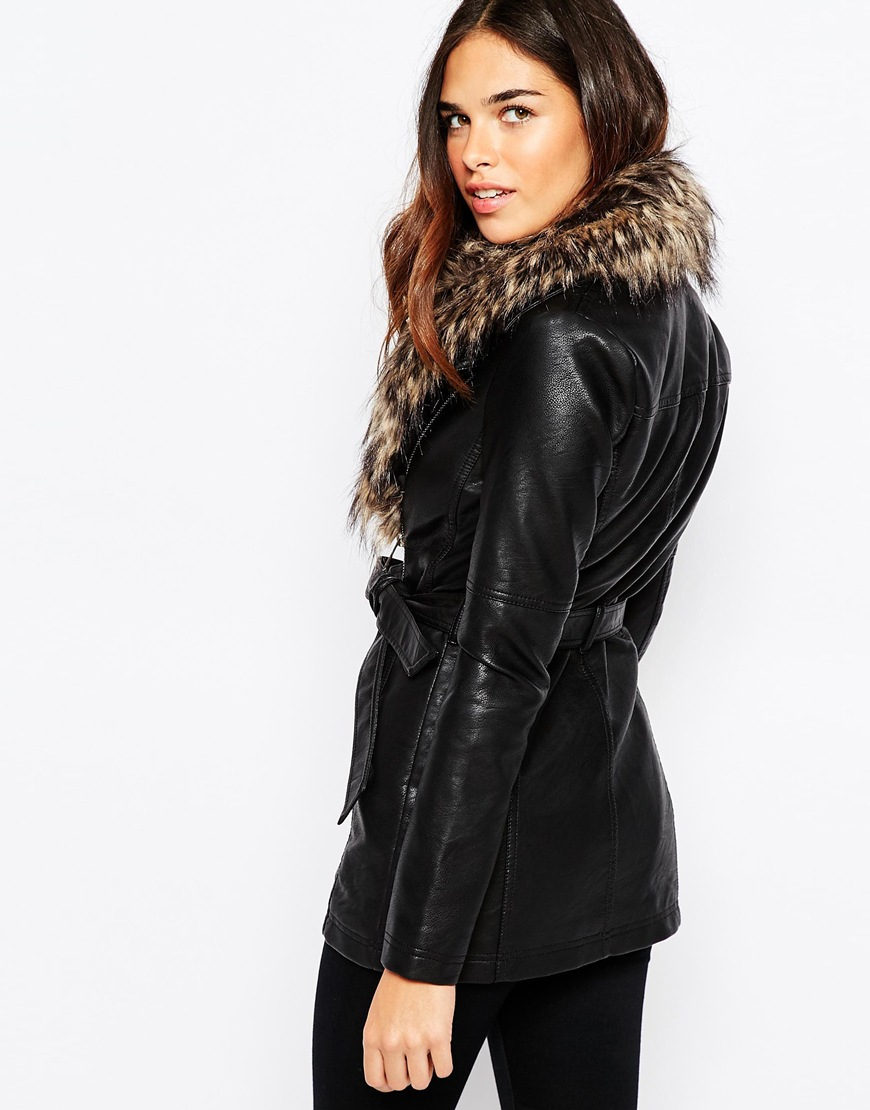 Lyst - Warehouse Faux Leather And Faux Fur Collar Jacket in Black