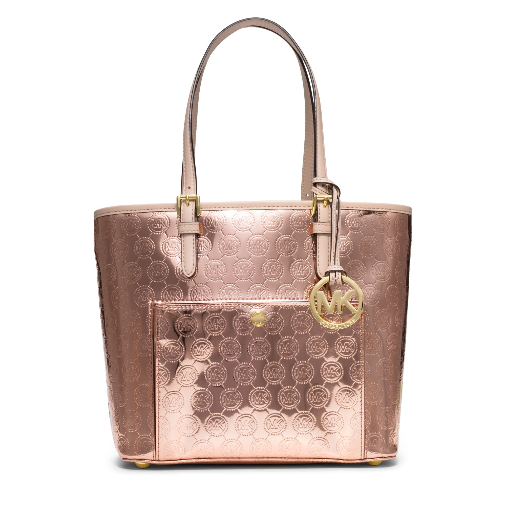 michael kors jet set medium monogram tote in gold rose gold lyst. Black Bedroom Furniture Sets. Home Design Ideas