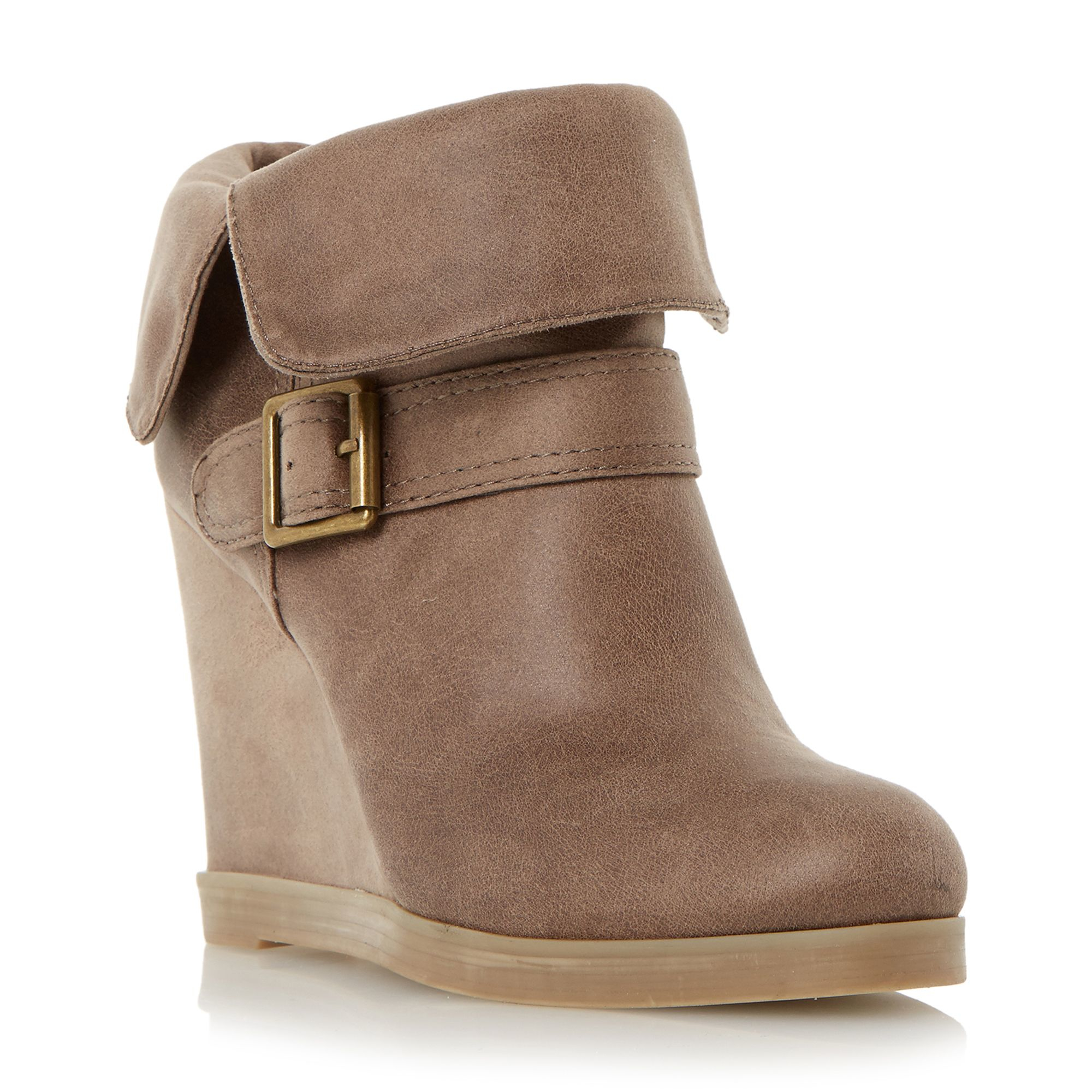 Dune Pindar Fold Down Wedge Heel Ankle Boots in Brown | Lyst