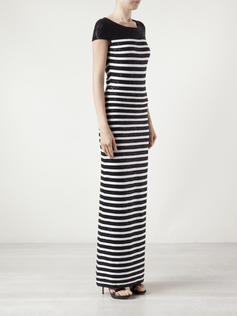 Lyst - Oscar De La Renta Long Striped Gown in Black