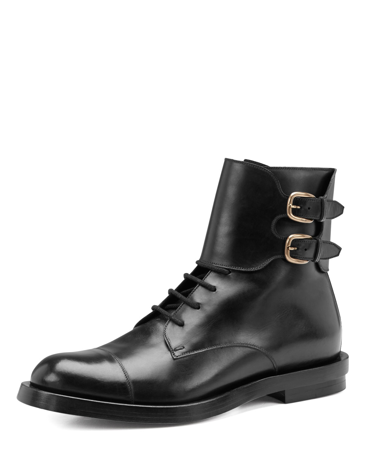 Gucci Leather Doublebuckle Military Boot In Black For Men