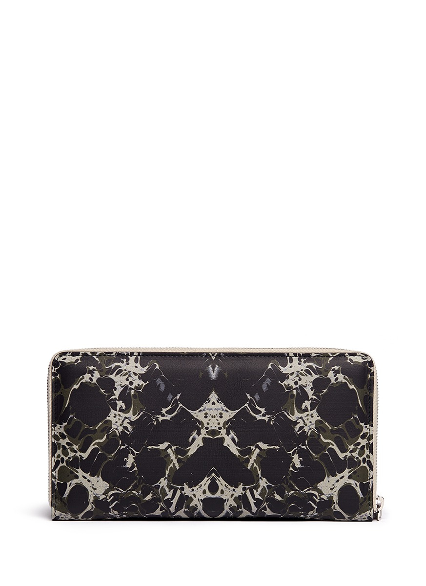 Alexander Mcqueen Army Marble Print Patent Leather Zip