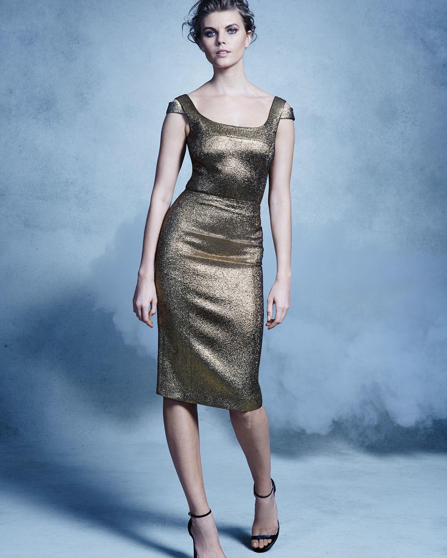 Michael kors Metallic Off-the-shoulder Sheath Dress in Metallic | Lyst