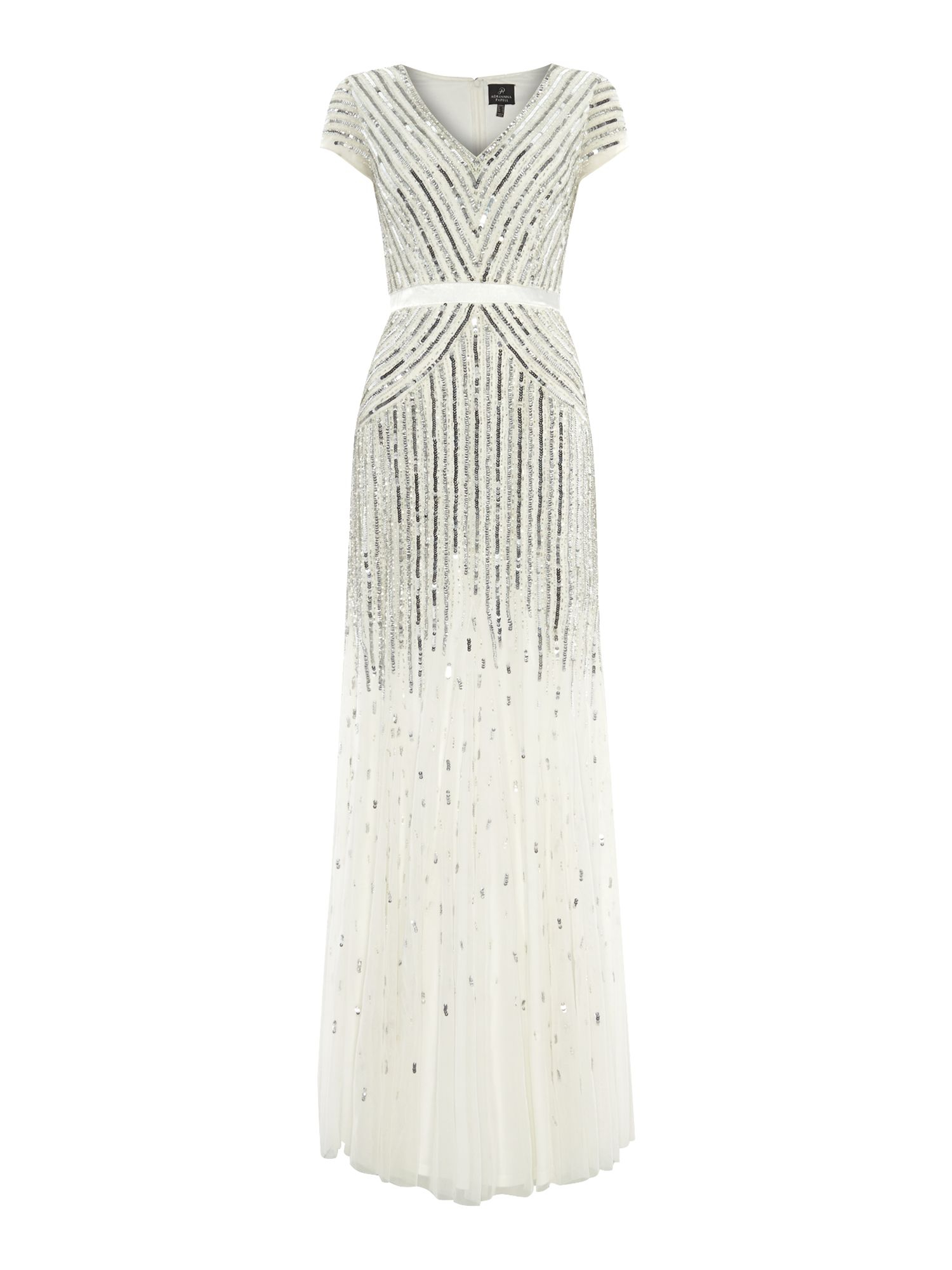 Adrianna papell Cap Sleeve Mesh Beaded Dress in White | Lyst