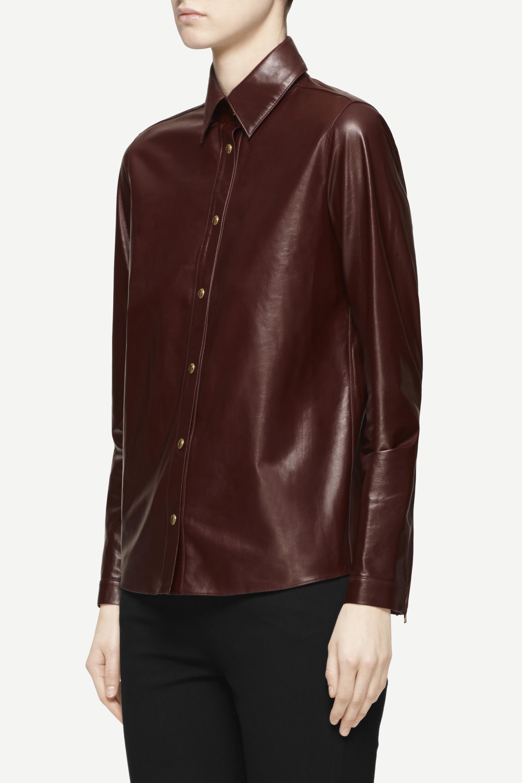 Rag bone leather faye shirt in brown lyst for Rag bone shirt