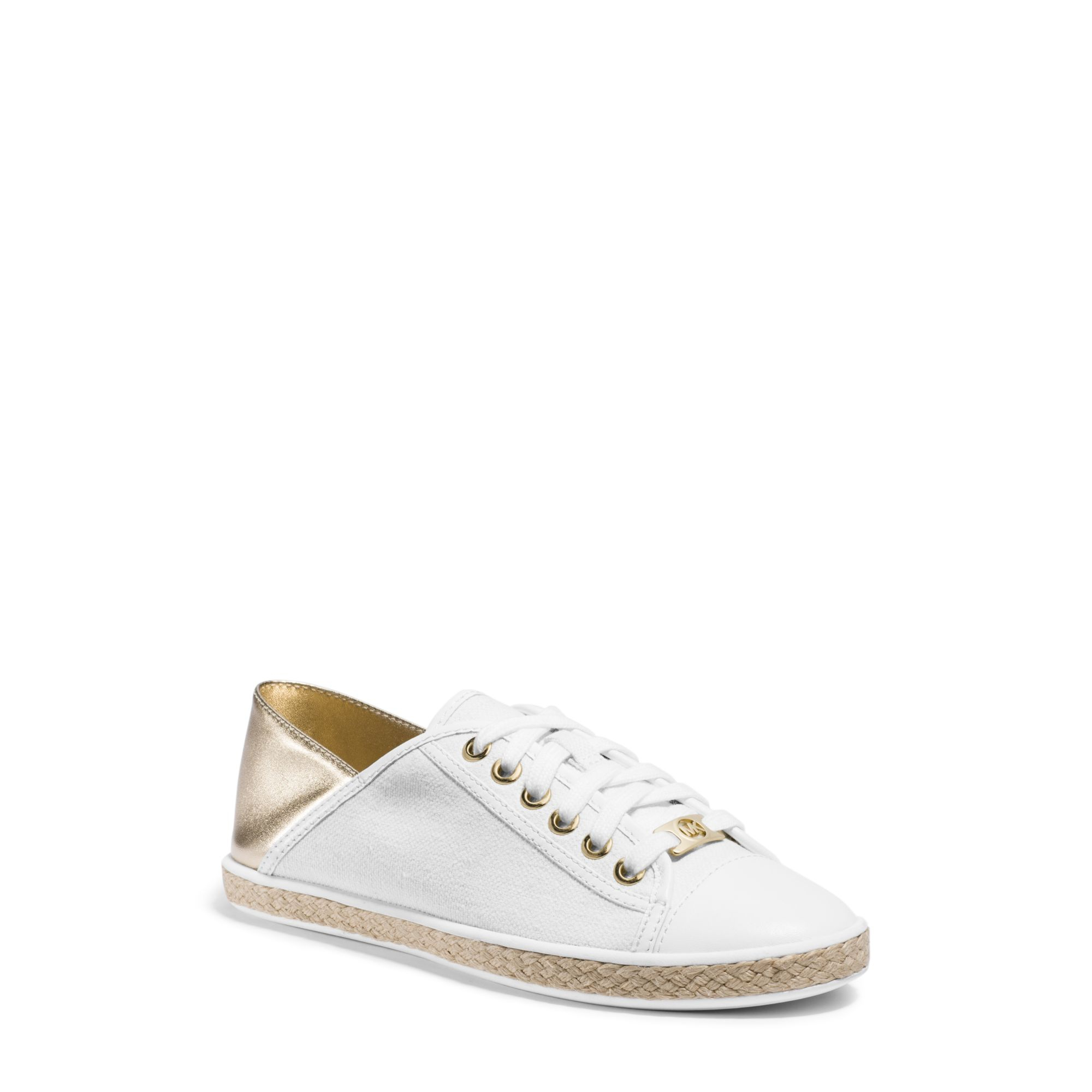 209d7d9758b7 Lyst - Michael Kors Kristy Canvas And Leather Sneaker in Metallic