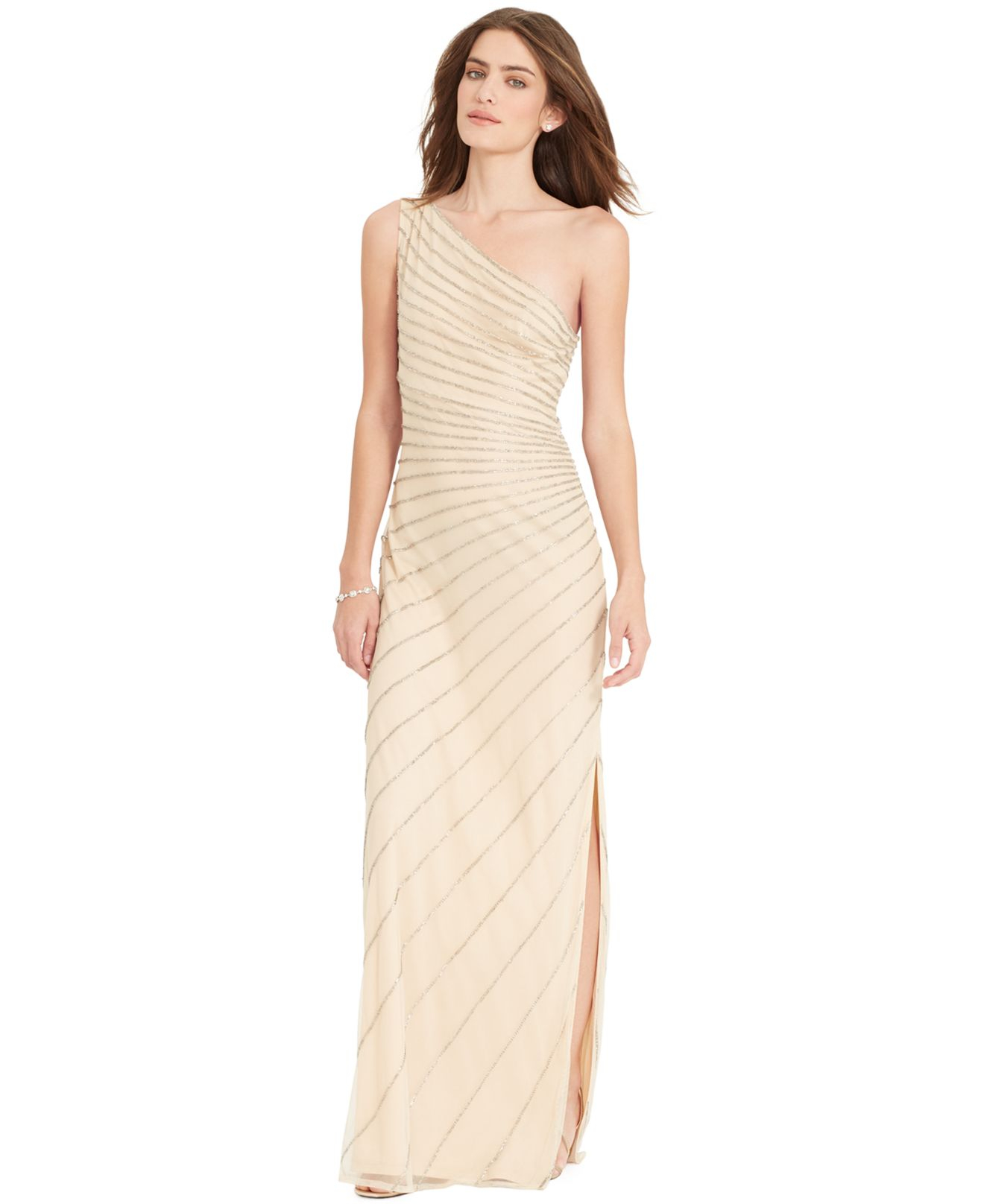 b96be2f91a Lauren by Ralph Lauren One-Shoulder Beaded Gown in Natural - Lyst