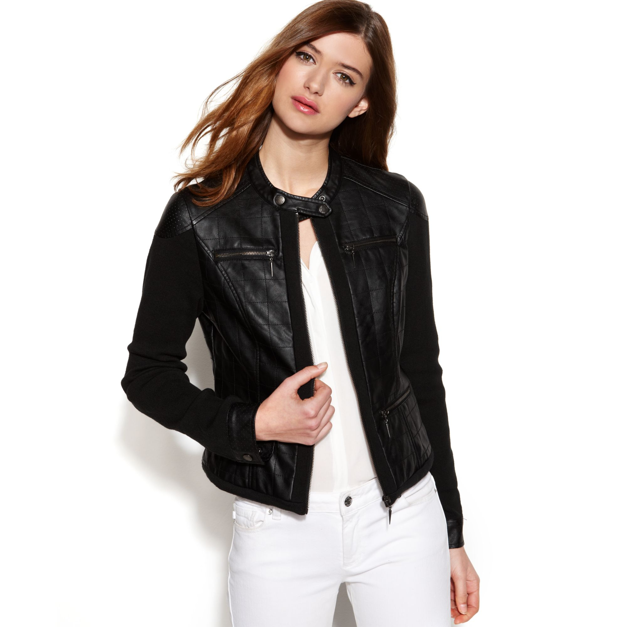 9697a57757d Gallery. Previously sold at  Macy s · Women s Opening Ceremony Global  Varsity Women s Cropped Leather Jackets ...
