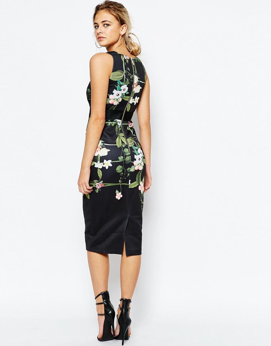 389e04a5320de8 Lyst - Ted Baker Secret Trellis Elastic Dress - Black in Green