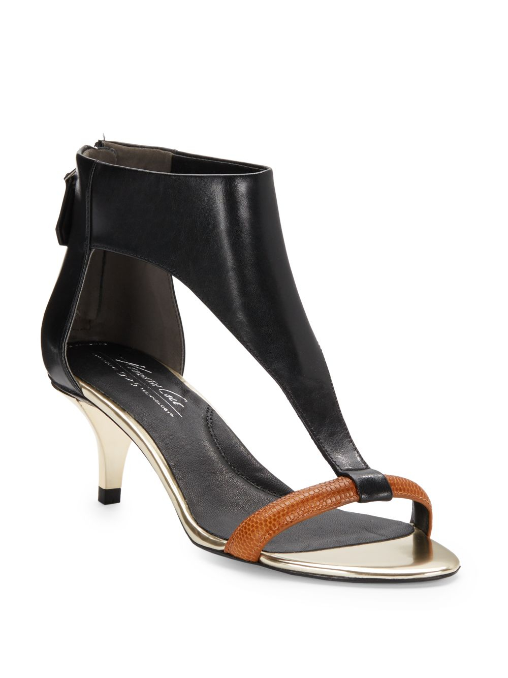 Kenneth cole Havemeyer Leather Kitten-Heel Sandals in Black | Lyst