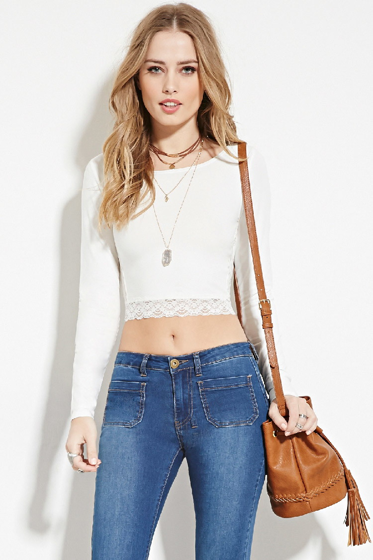 a4e45249724fa Lyst - Forever 21 Lace Panel Crop Top in White