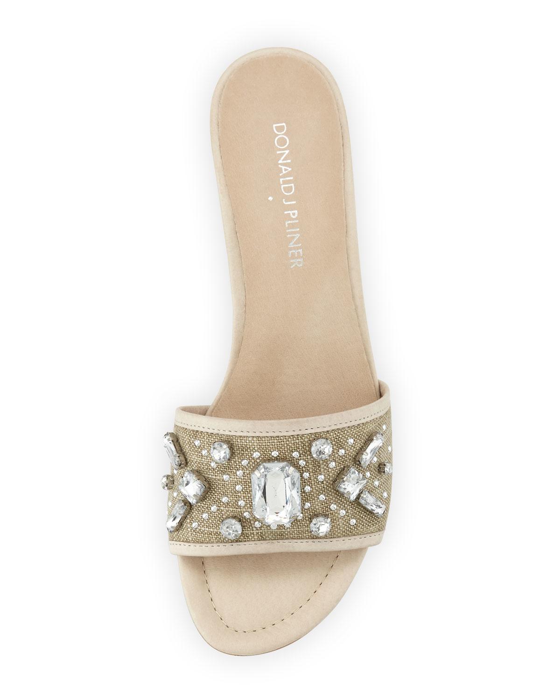 58c306e25301 Lyst - Donald J Pliner Maxx Jeweled Low-heel Slide Sandal in Natural